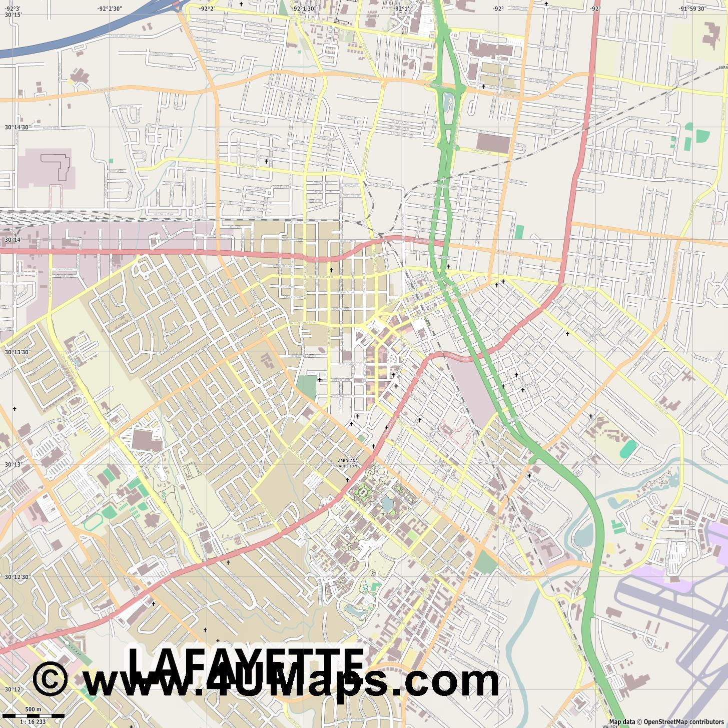 Lafayette  jpg ultra high detail preview vector city map