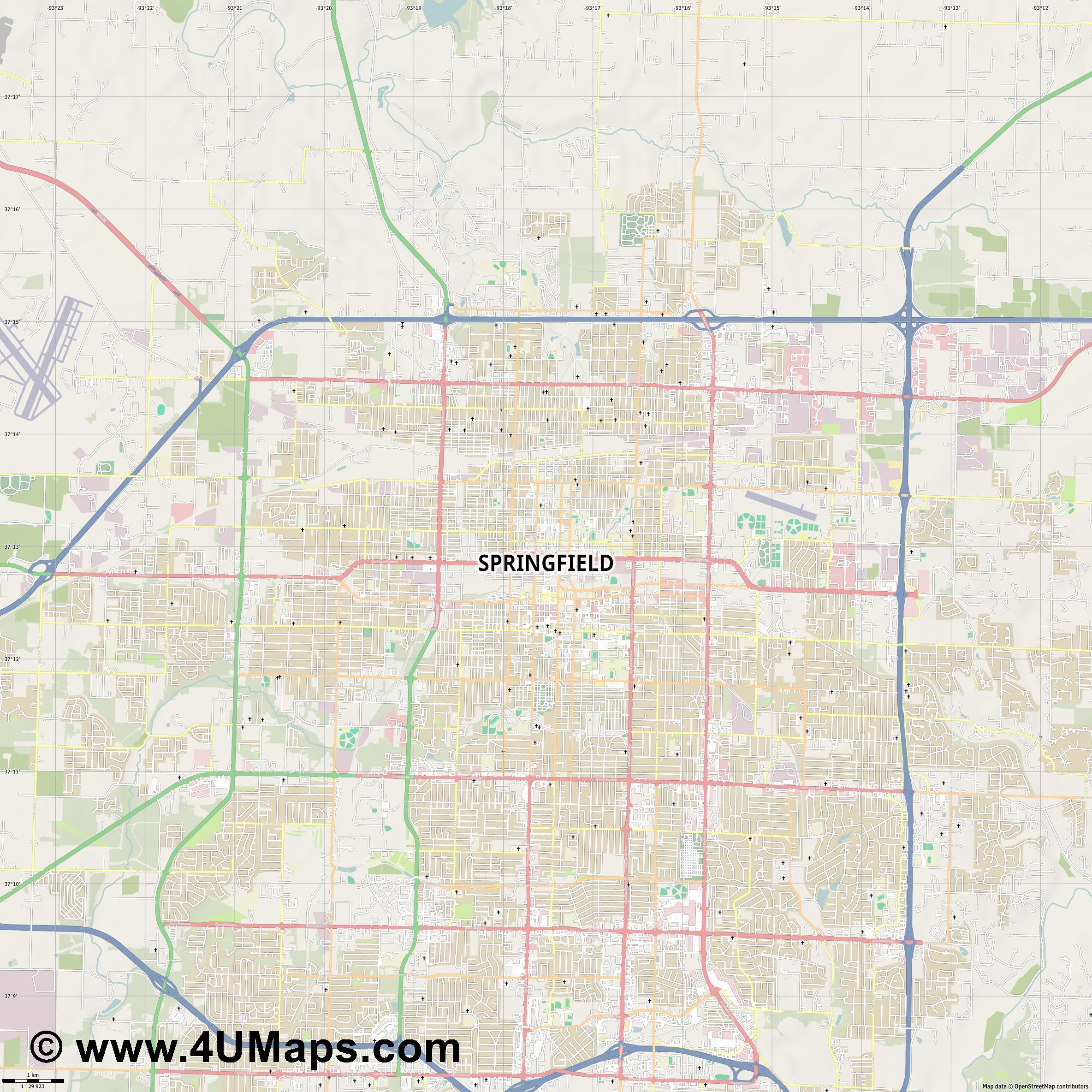 Springfield  jpg high detail, large area preview vector city map