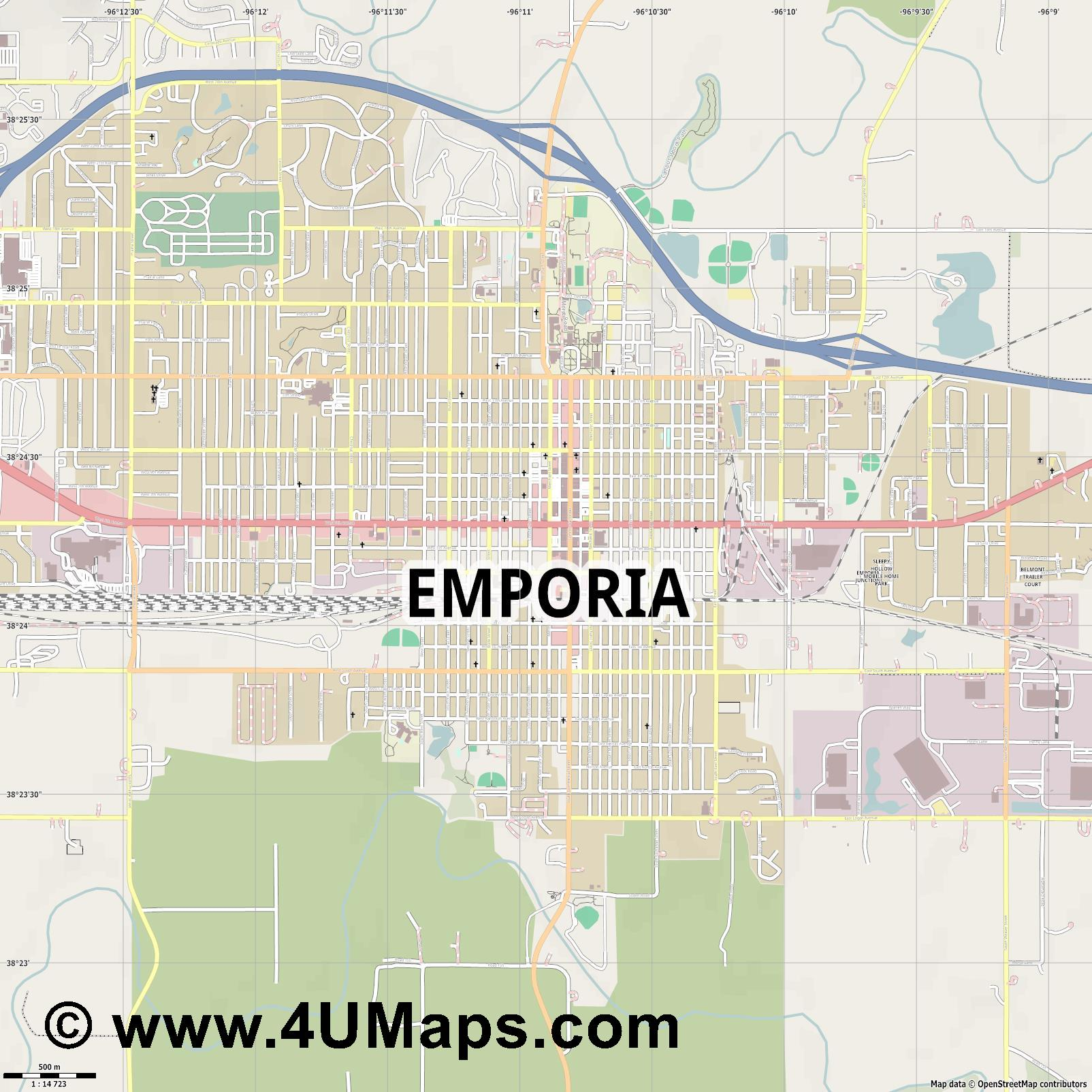 Emporia  jpg ultra high detail preview vector city map