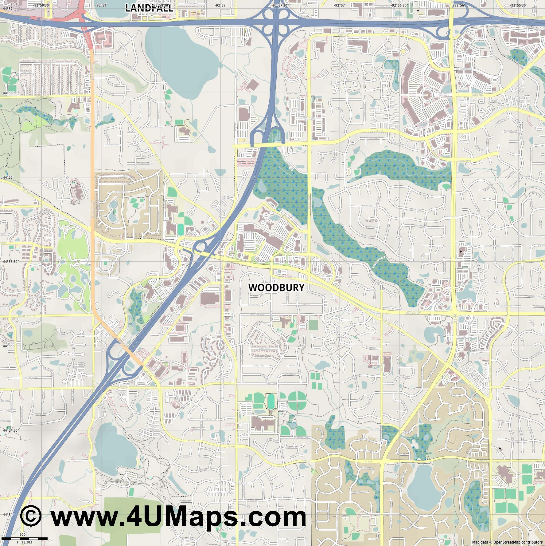 Woodbury  jpg ultra high detail preview vector city map