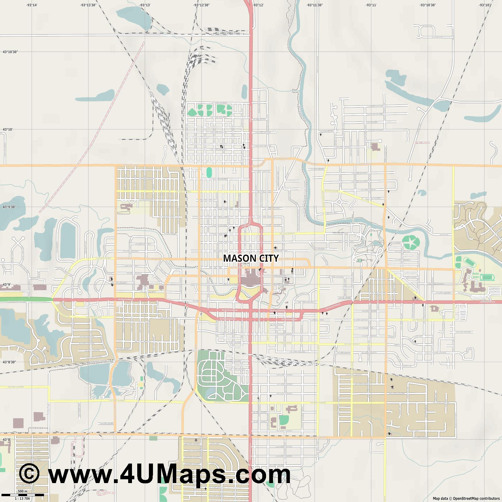 Mason City  jpg ultra high detail preview vector city map