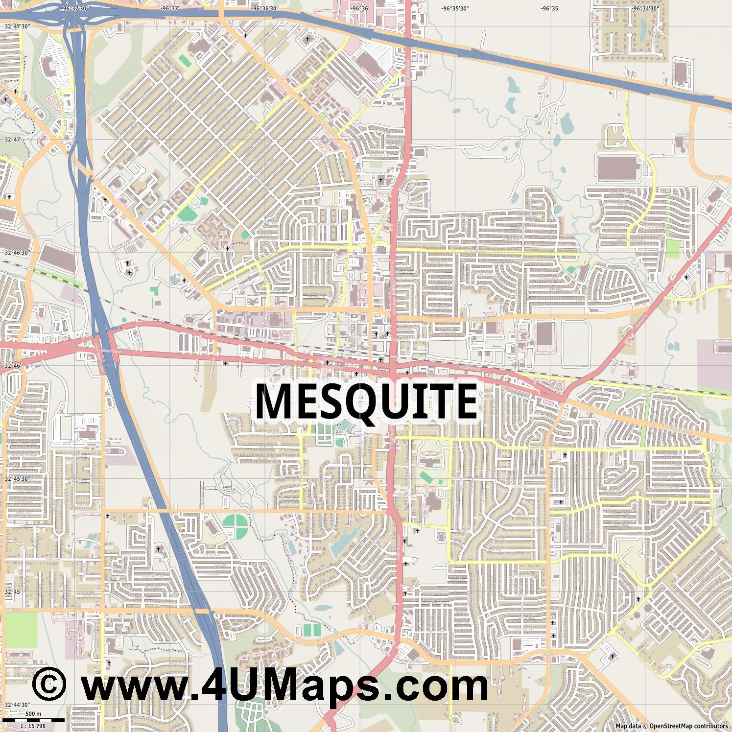 Mesquite  jpg ultra high detail preview vector city map