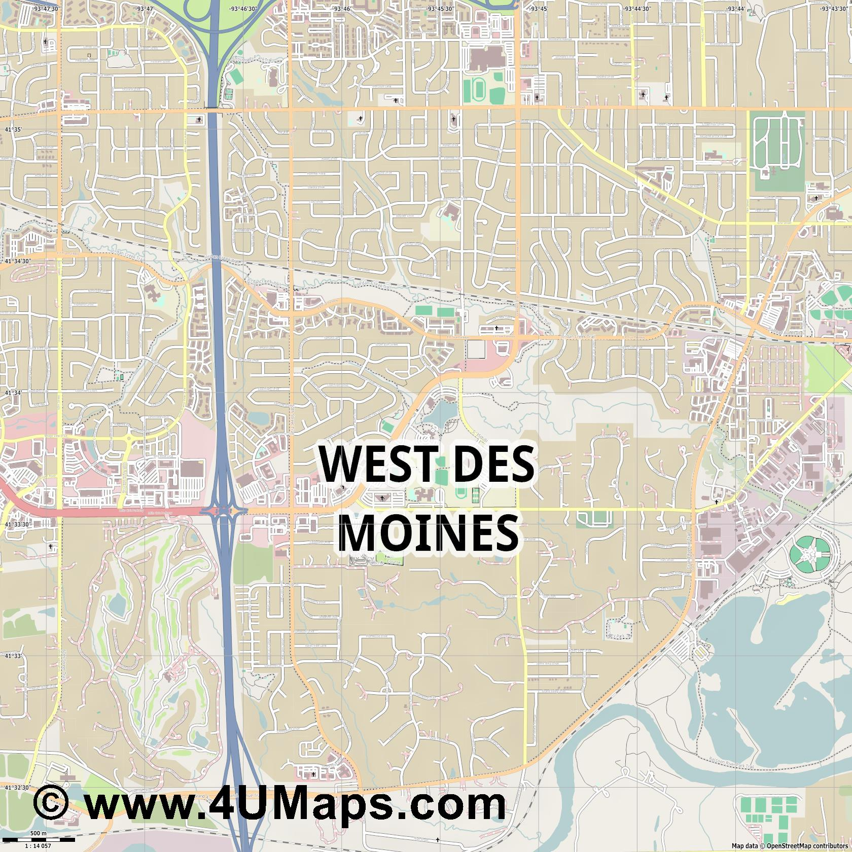 West Des Moines  jpg ultra high detail preview vector city map