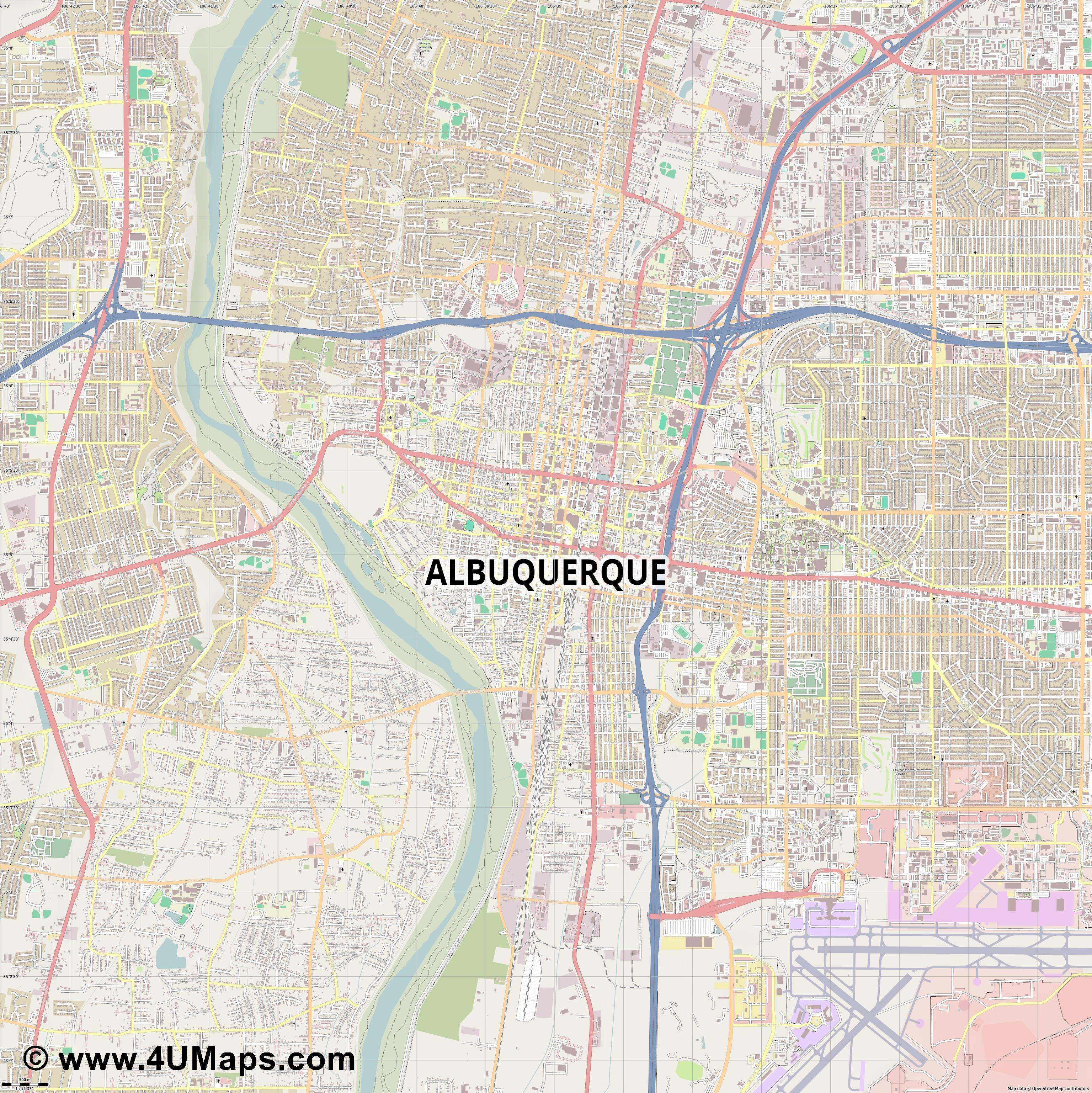 Albuquerque  jpg ultra high detail preview vector city map