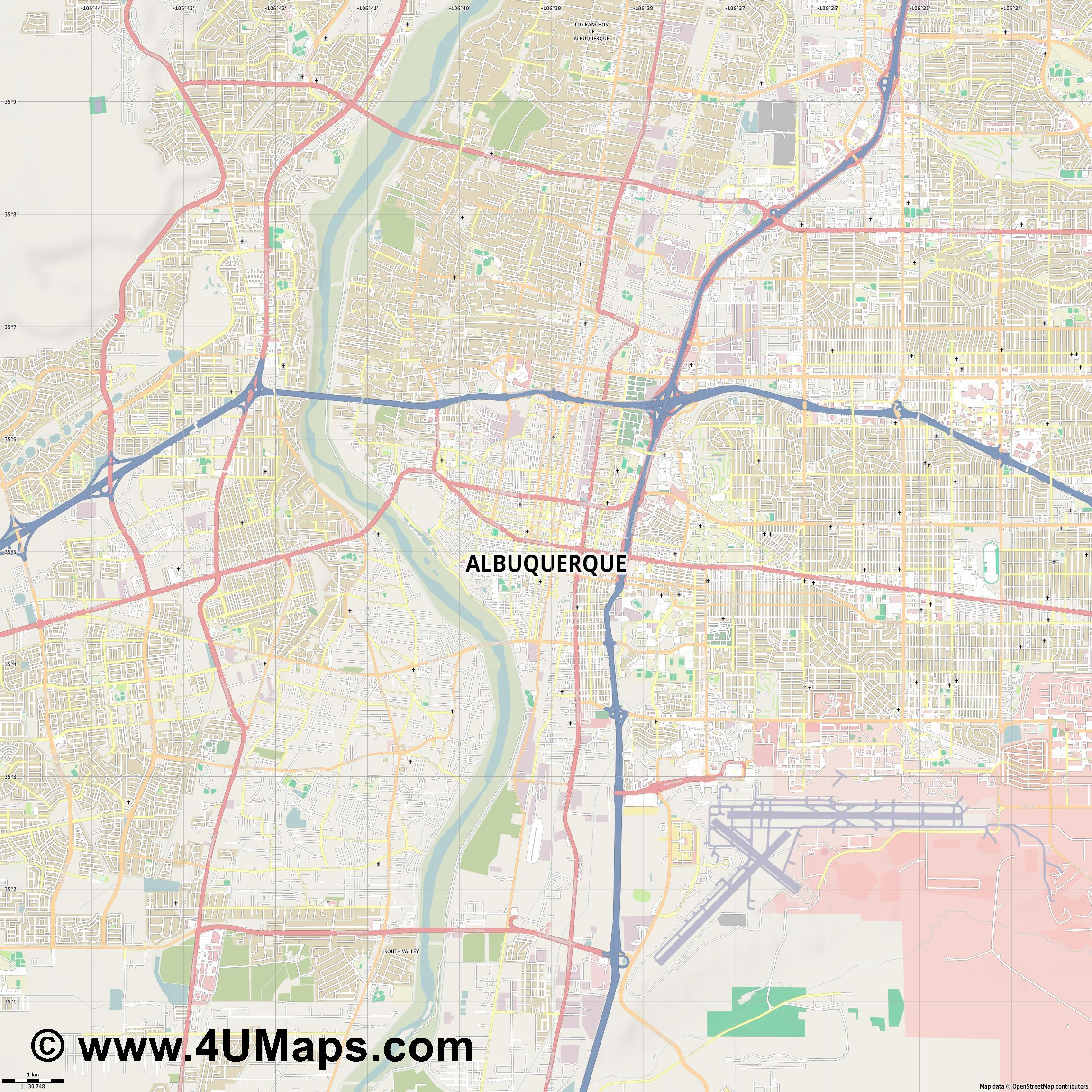 Albuquerque  jpg high detail, large area preview vector city map