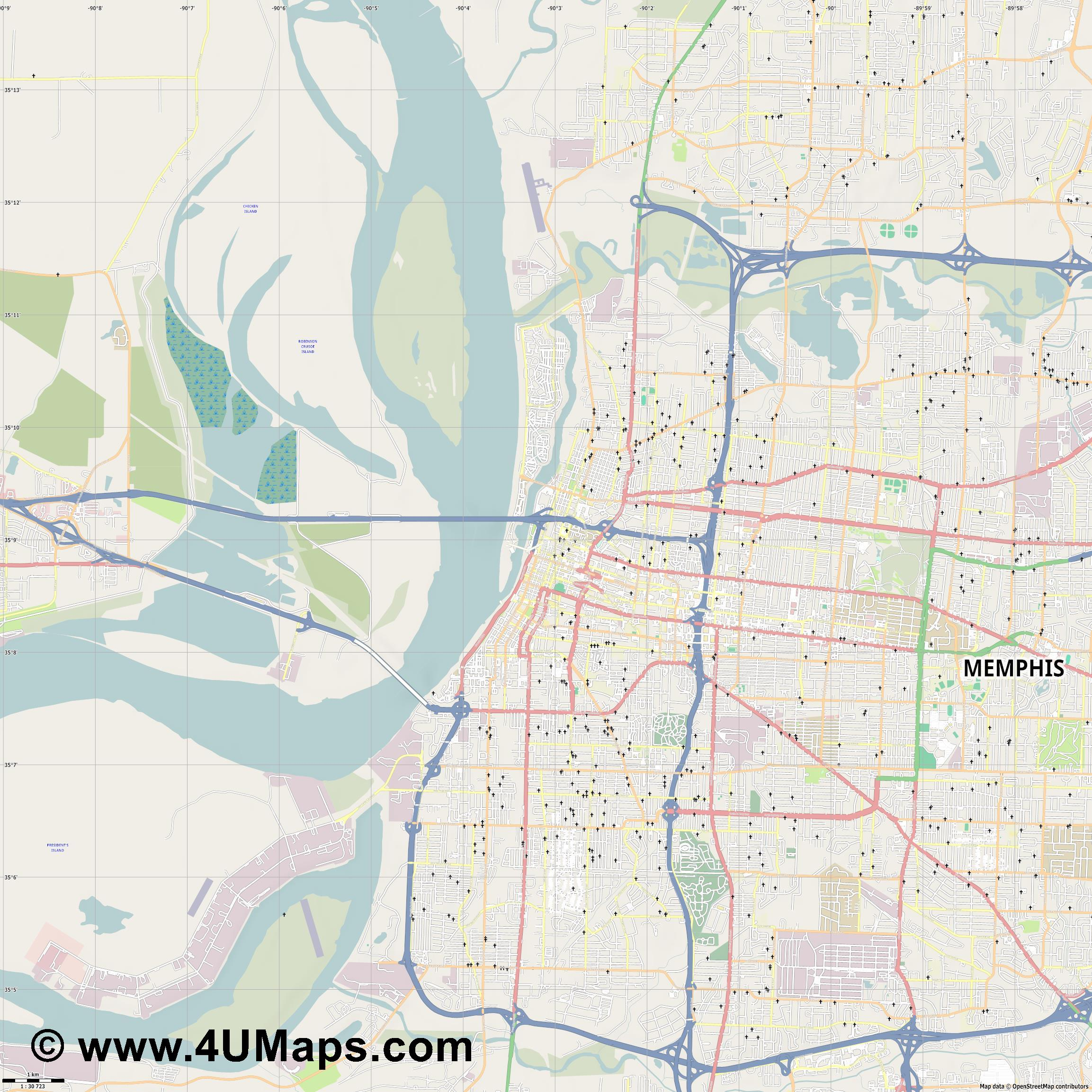 Memphis  jpg high detail, large area preview vector city map