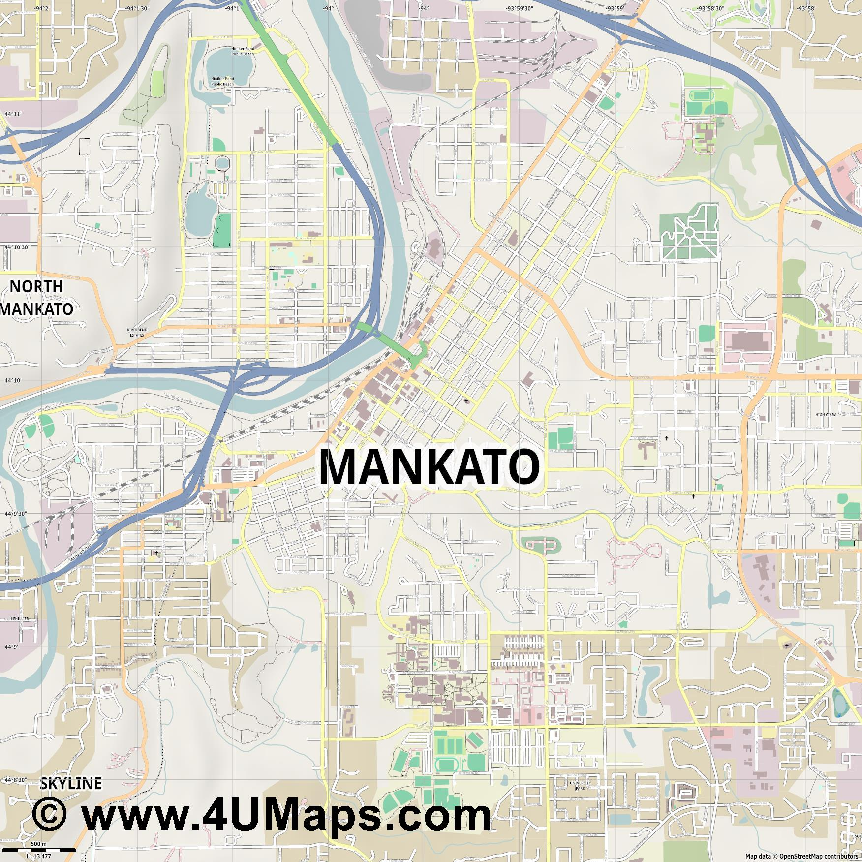 Mankato  jpg ultra high detail preview vector city map