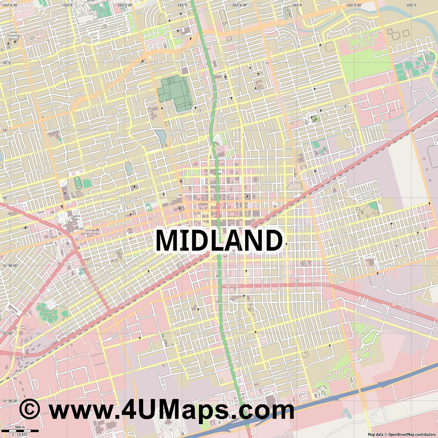 Midland  jpg ultra high detail preview vector city map