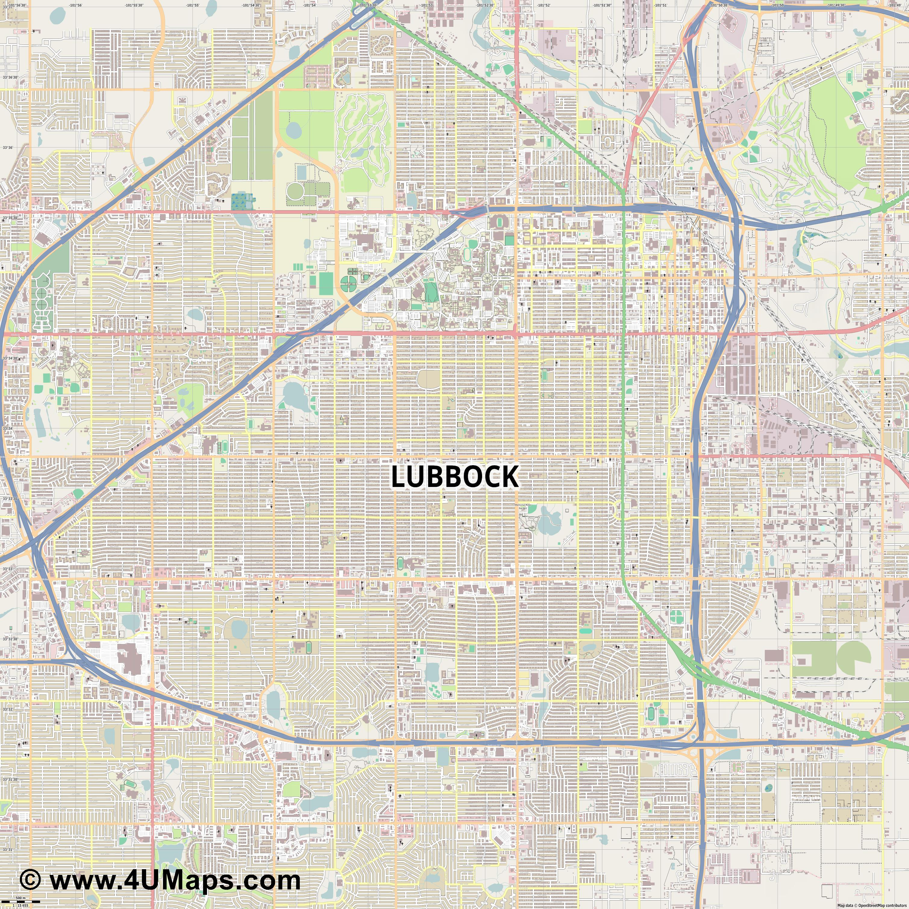 Lubbock  jpg ultra high detail preview vector city map