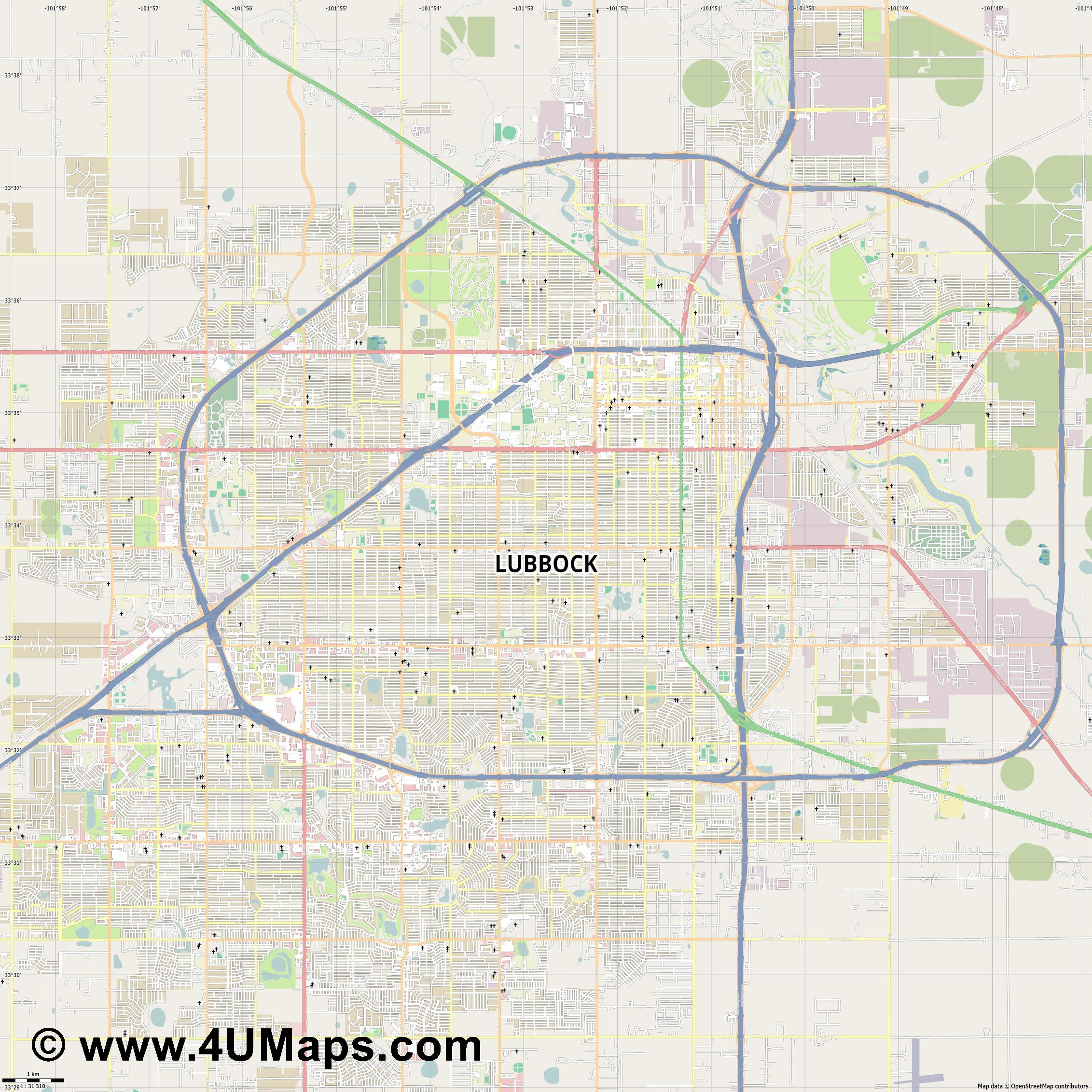 Lubbock  jpg high detail, large area preview vector city map