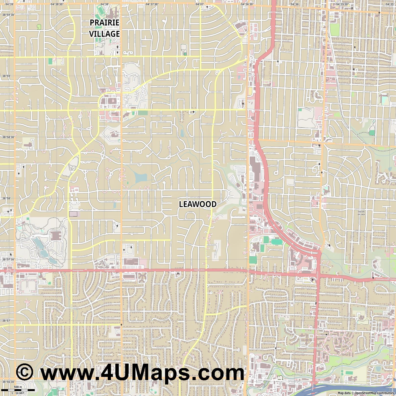 Leawood  jpg ultra high detail preview vector city map