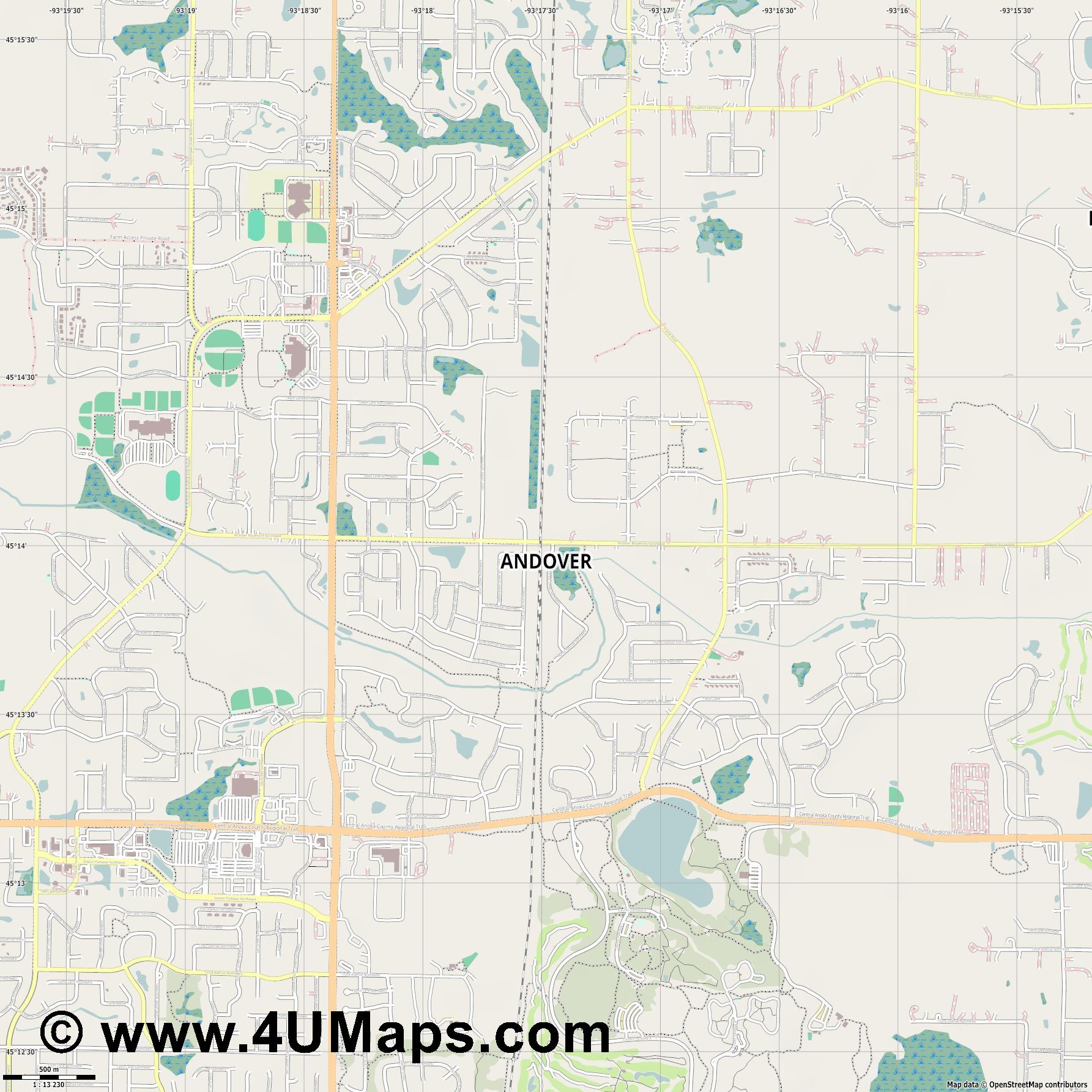 Andover  jpg ultra high detail preview vector city map