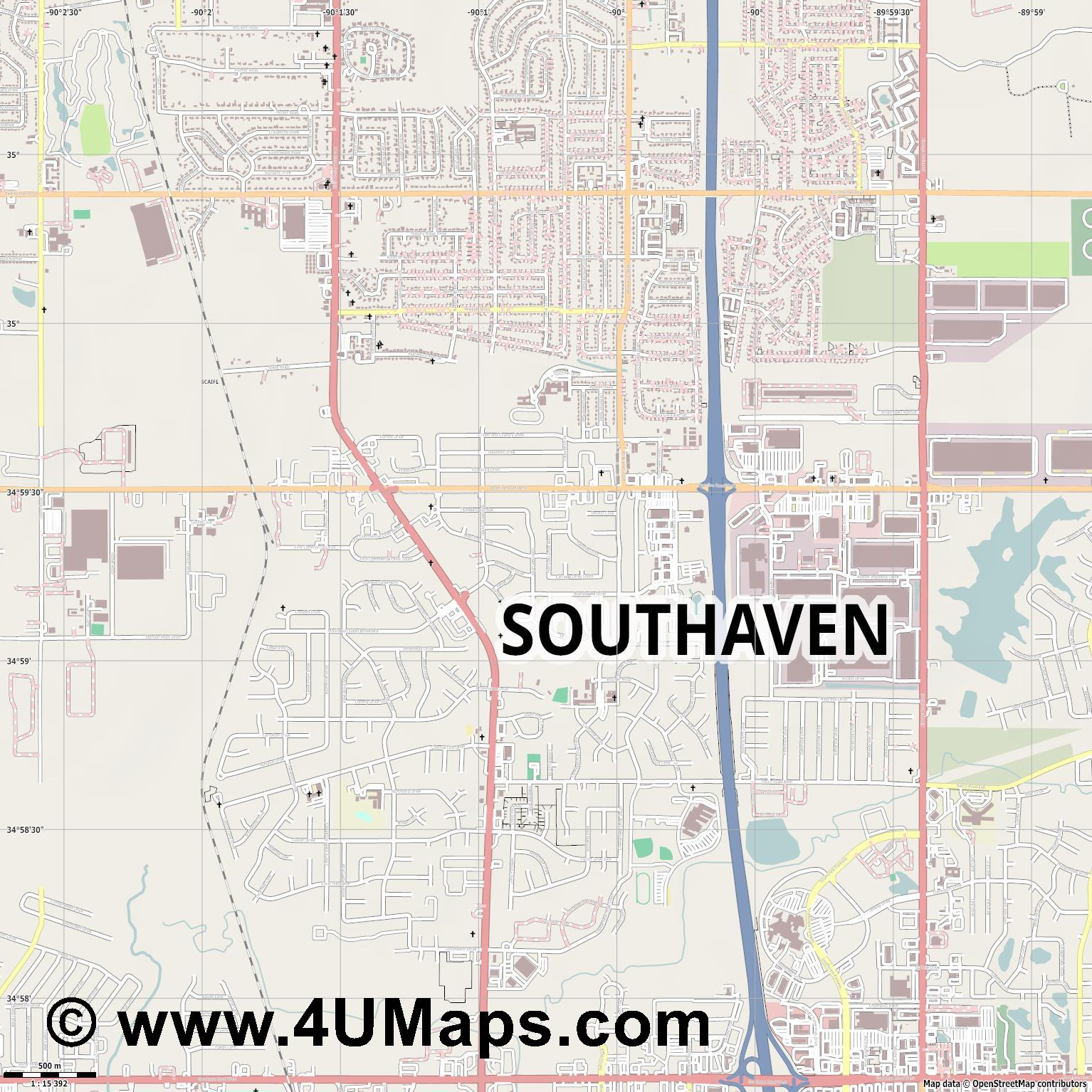 Southaven  jpg ultra high detail preview vector city map
