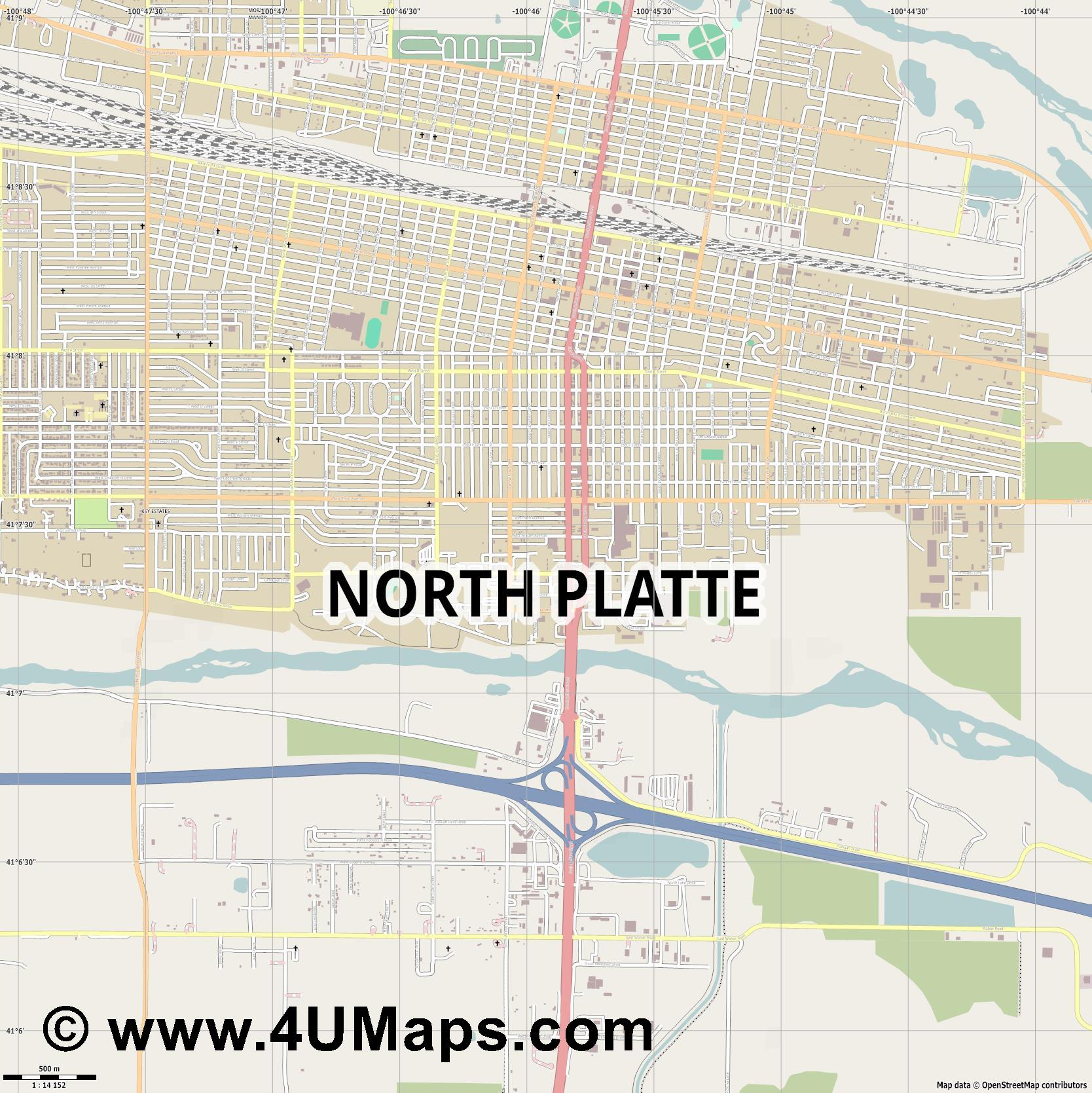 North Platte  jpg ultra high detail preview vector city map
