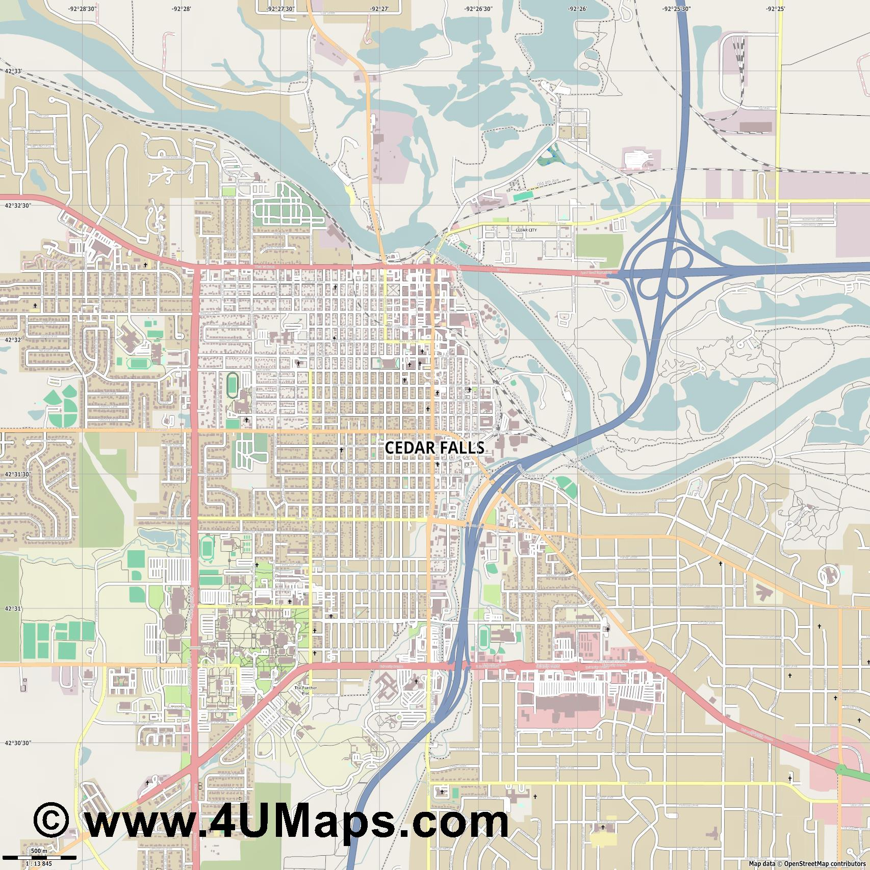 Cedar Falls  jpg ultra high detail preview vector city map