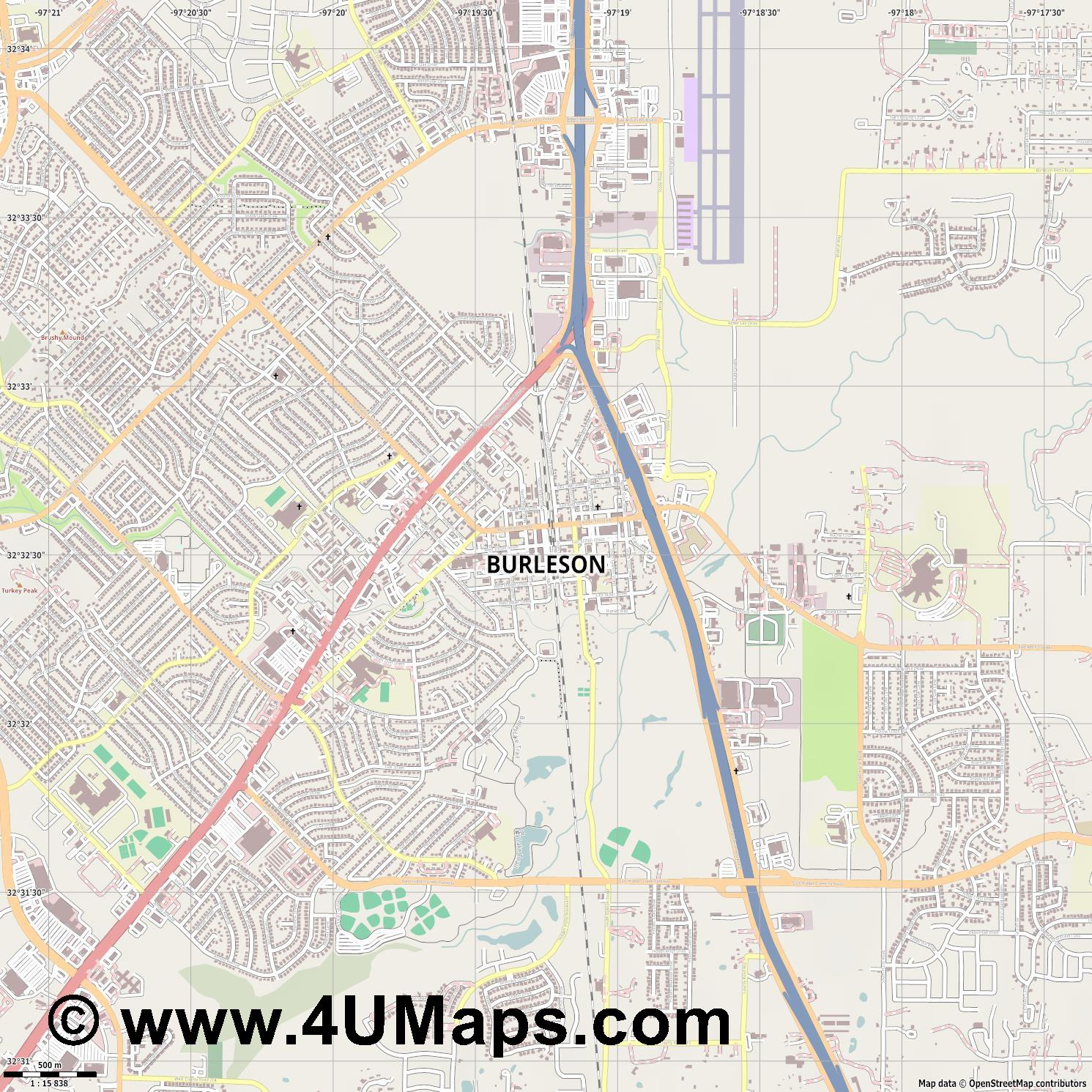 Burleson  jpg ultra high detail preview vector city map