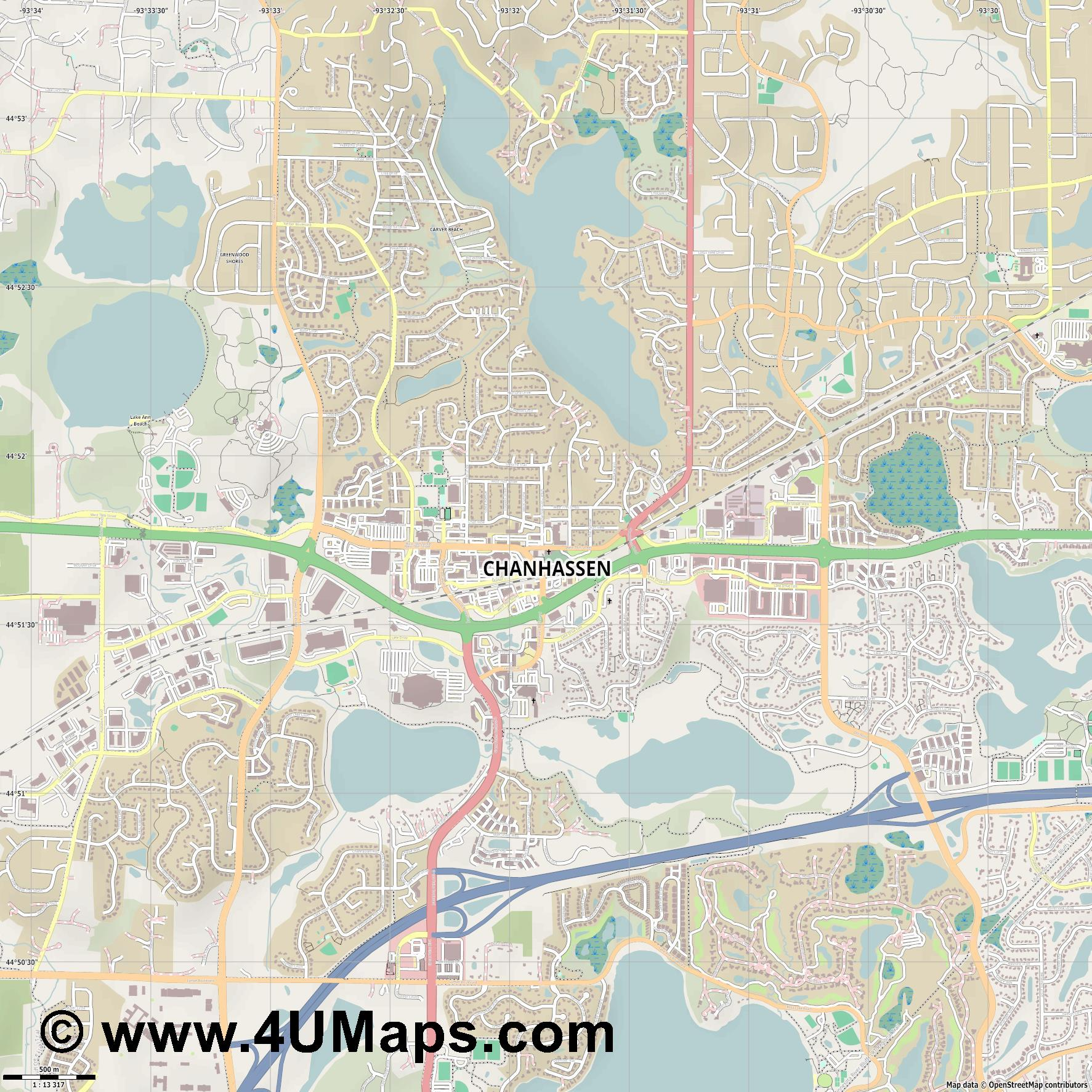 Chanhassen  jpg ultra high detail preview vector city map