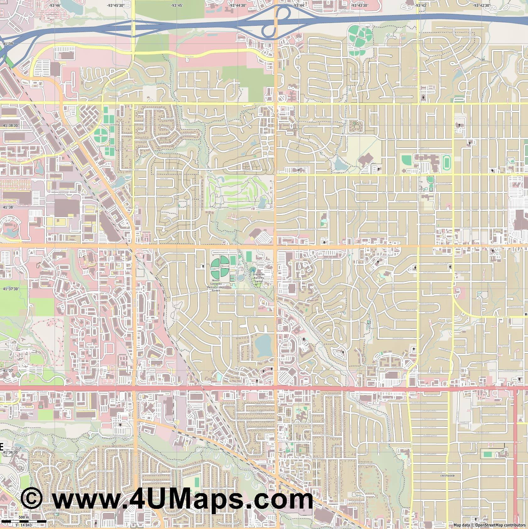 Urbandale  jpg ultra high detail preview vector city map