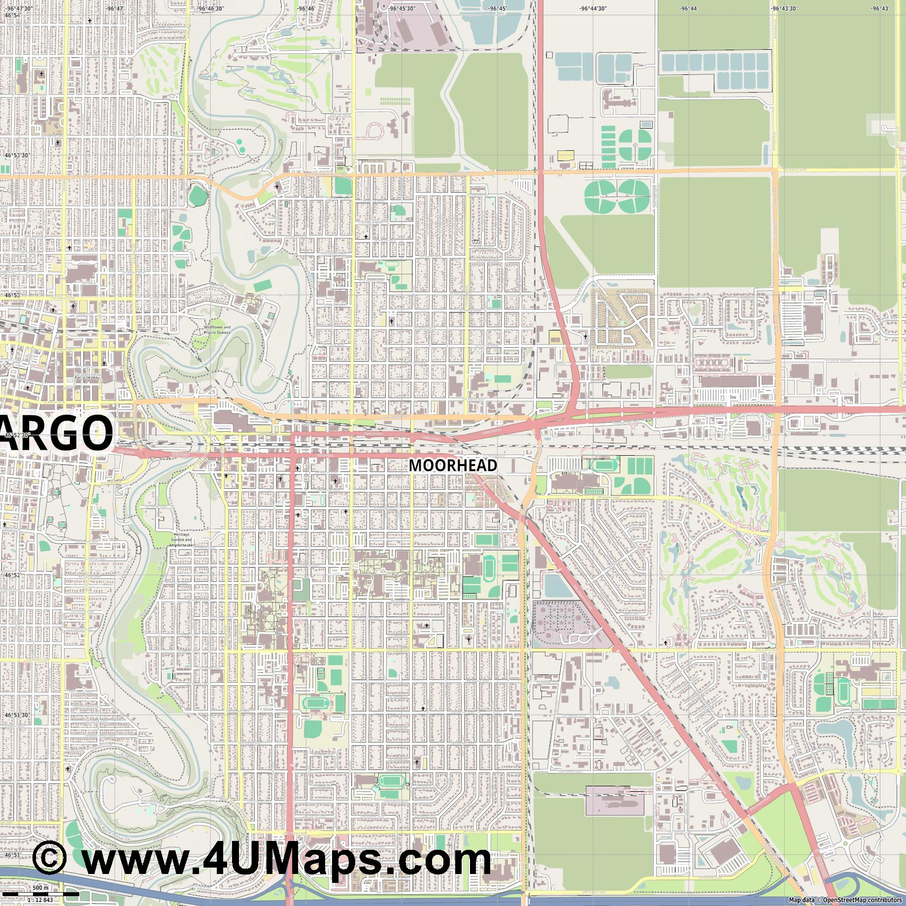 Moorhead  jpg ultra high detail preview vector city map