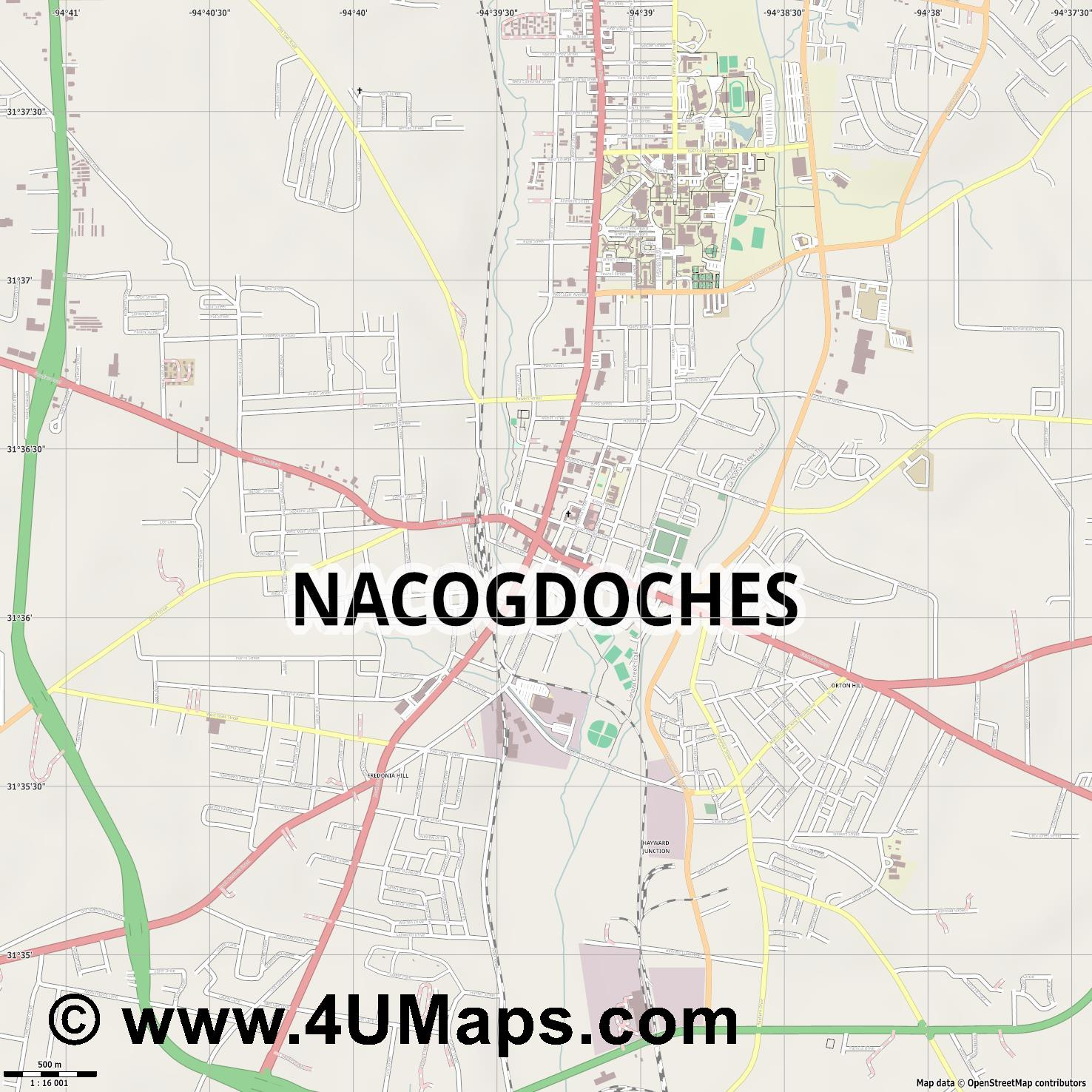 Nacogdoches  jpg ultra high detail preview vector city map