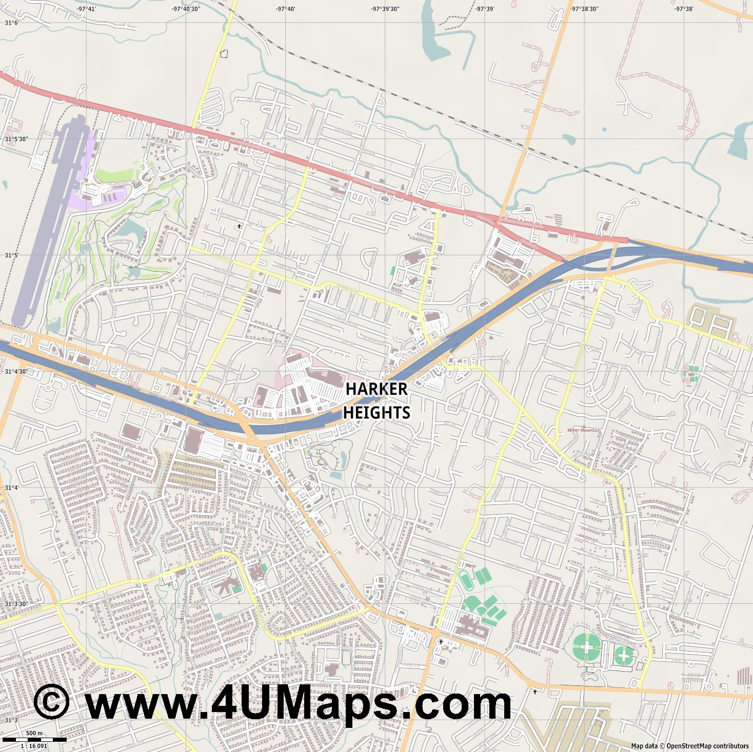 Harker Heights  jpg ultra high detail preview vector city map