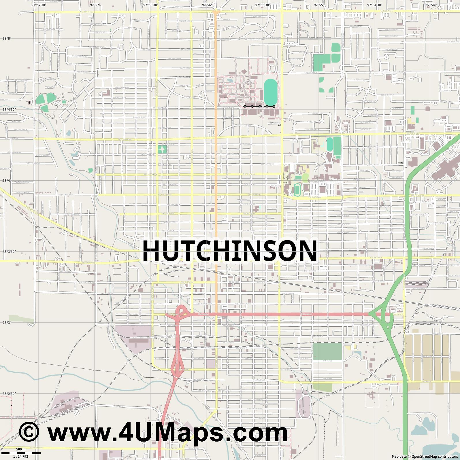 Hutchinson  jpg ultra high detail preview vector city map