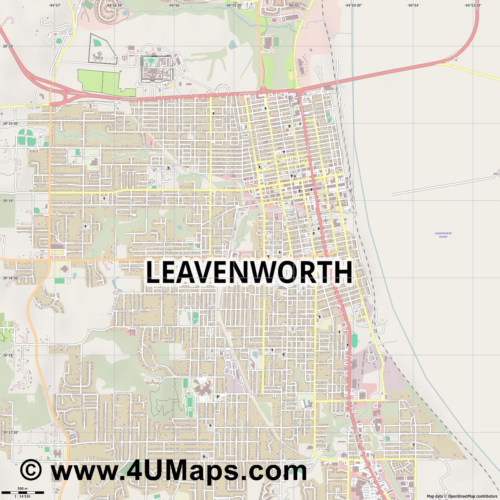Leavenworth  jpg ultra high detail preview vector city map