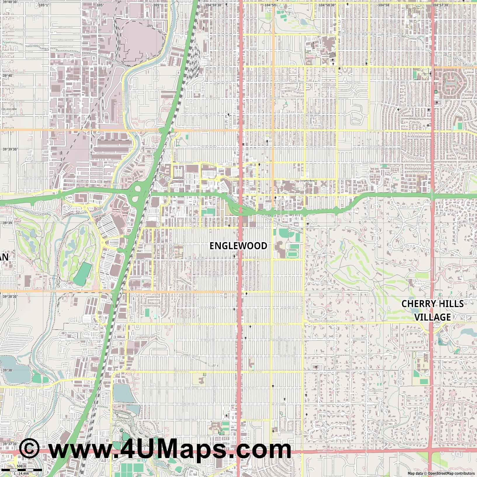 Englewood  jpg ultra high detail preview vector city map