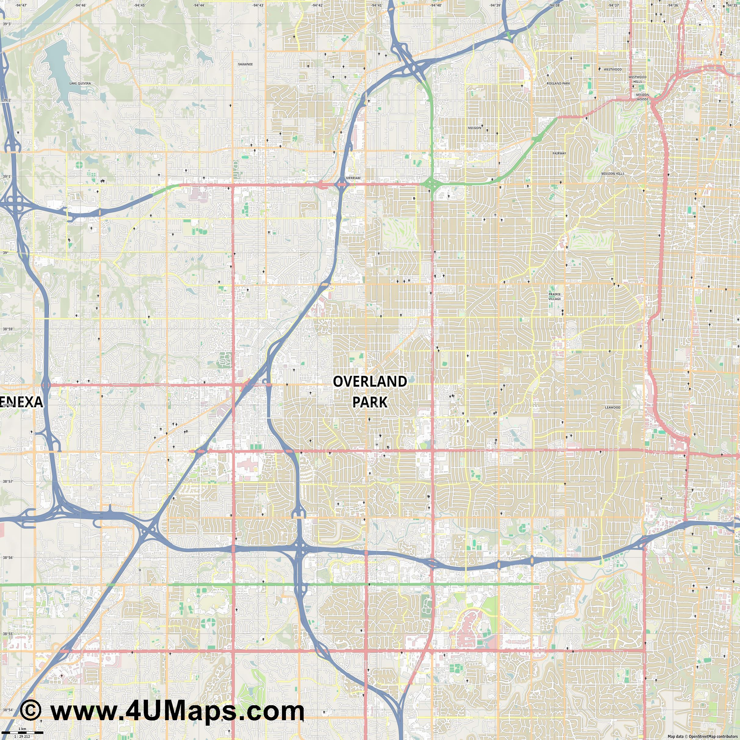 Overland Park  jpg high detail, large area preview vector city map
