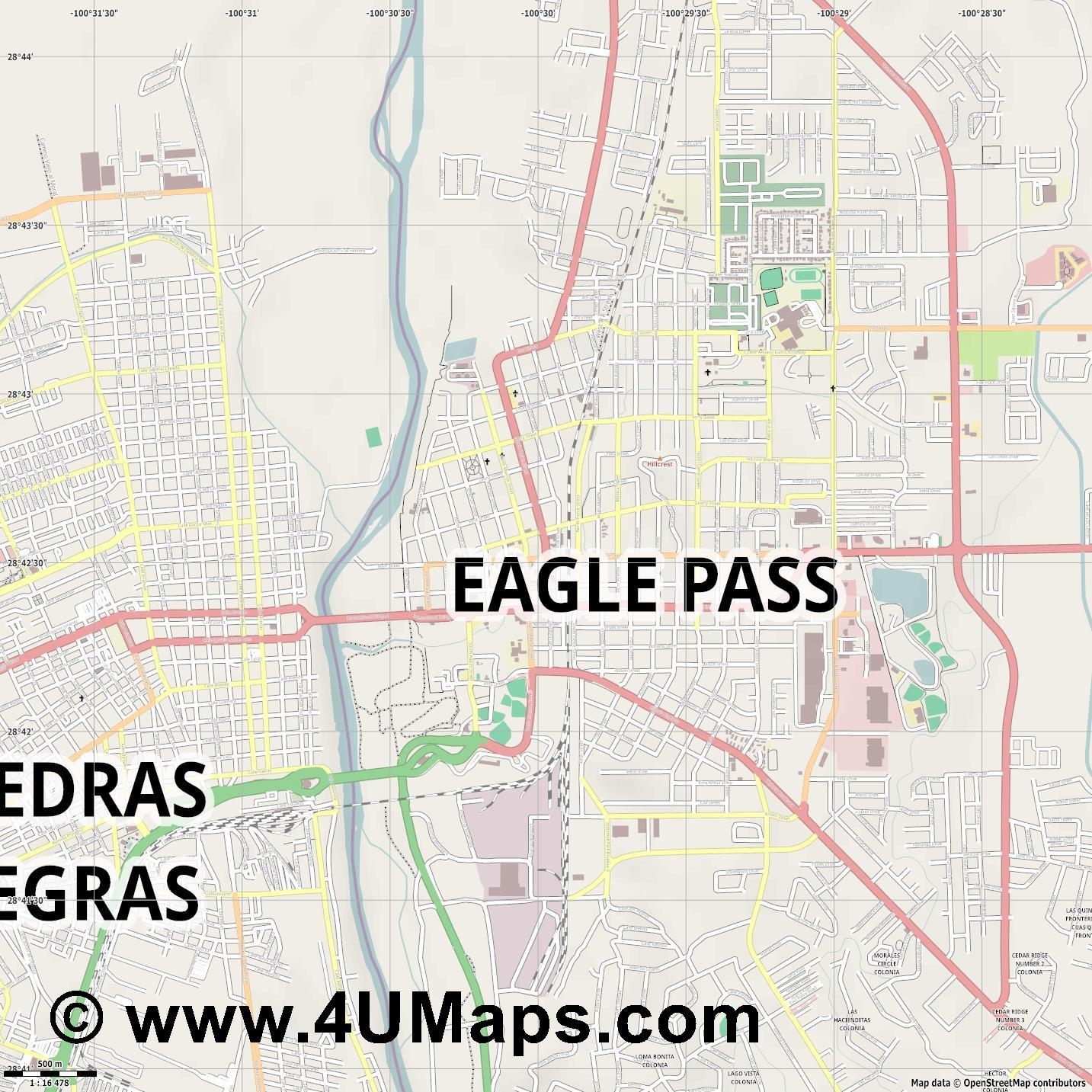 Eagle Pass  jpg ultra high detail preview vector city map