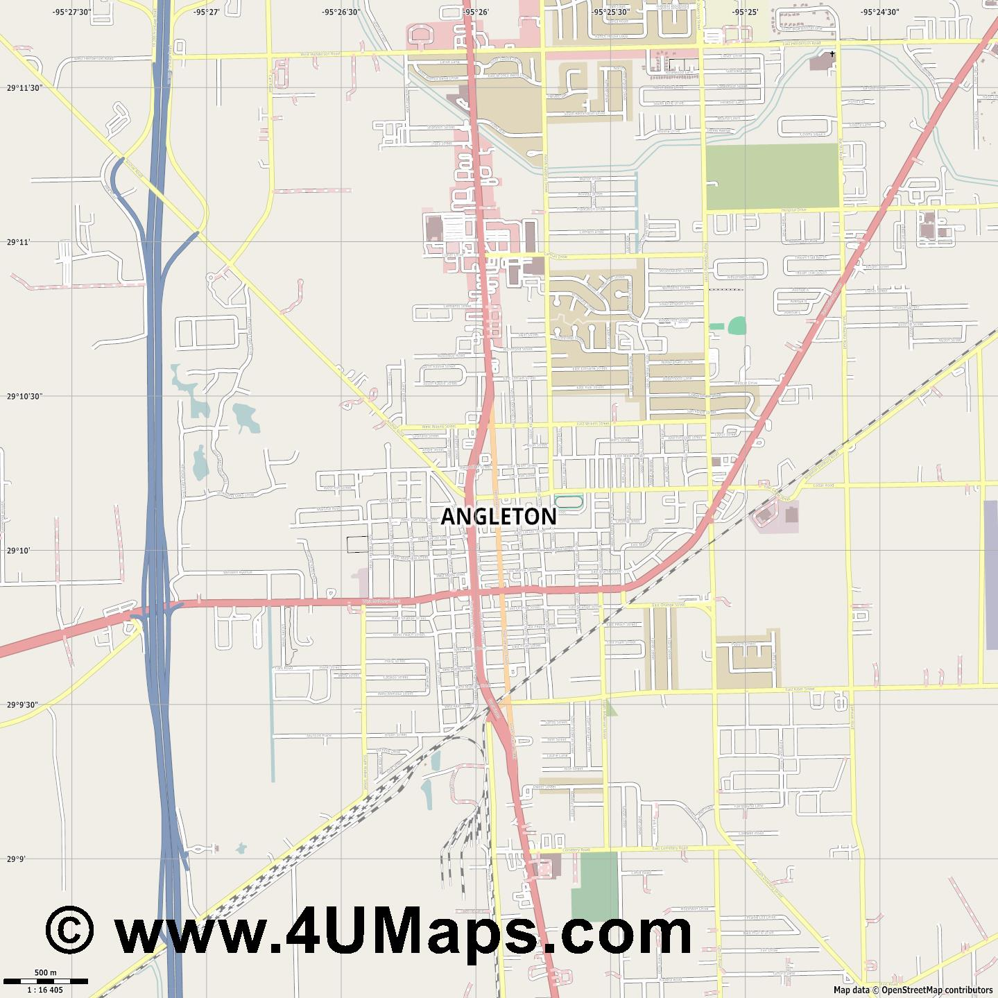 Angleton  jpg ultra high detail preview vector city map