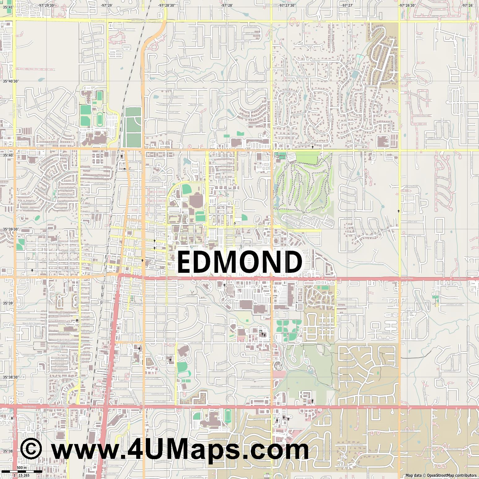 Edmond  jpg ultra high detail preview vector city map
