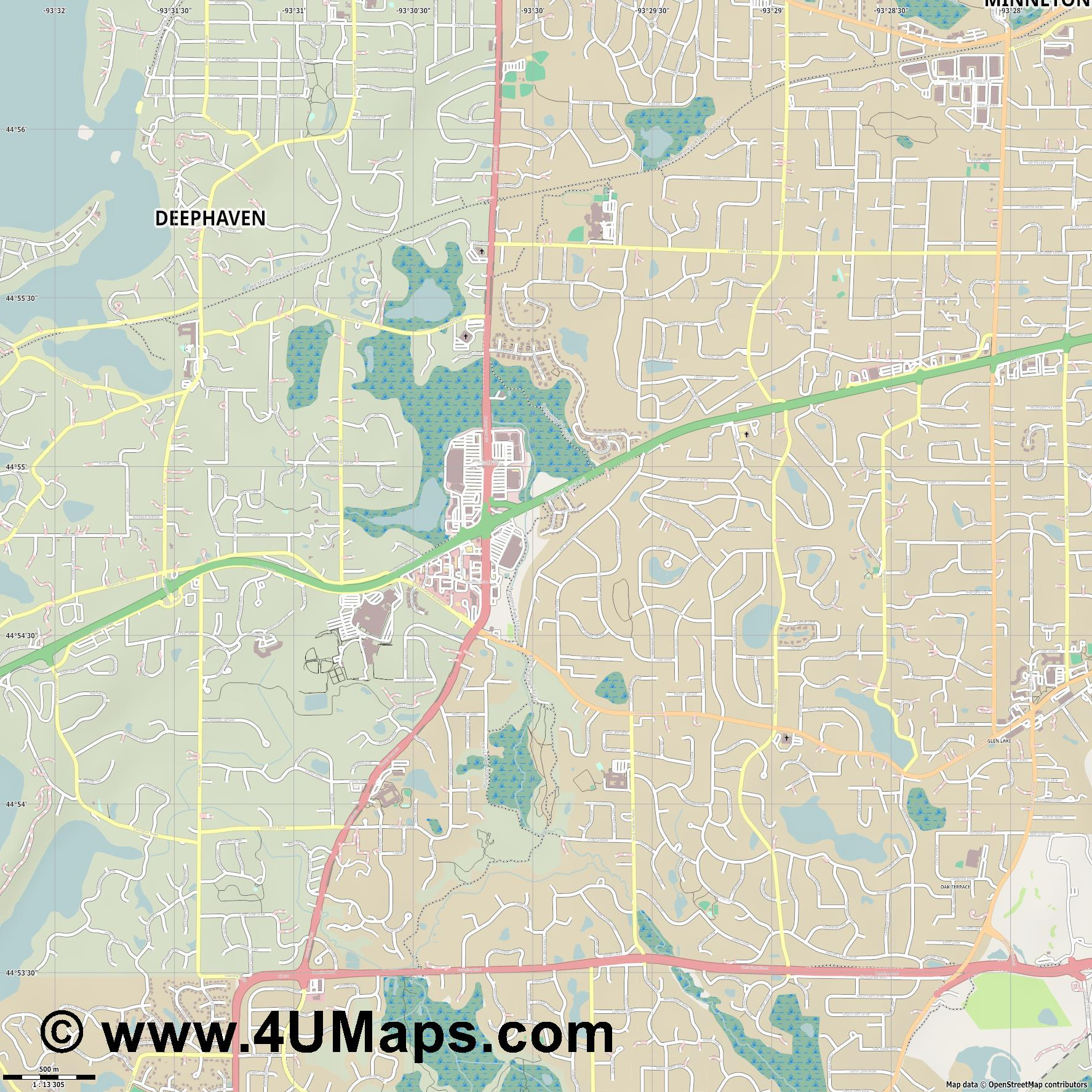Minnetonka  jpg ultra high detail preview vector city map
