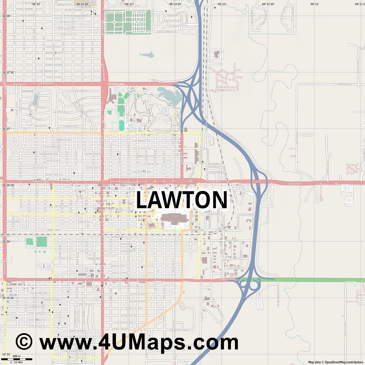 Lawton  jpg ultra high detail preview vector city map
