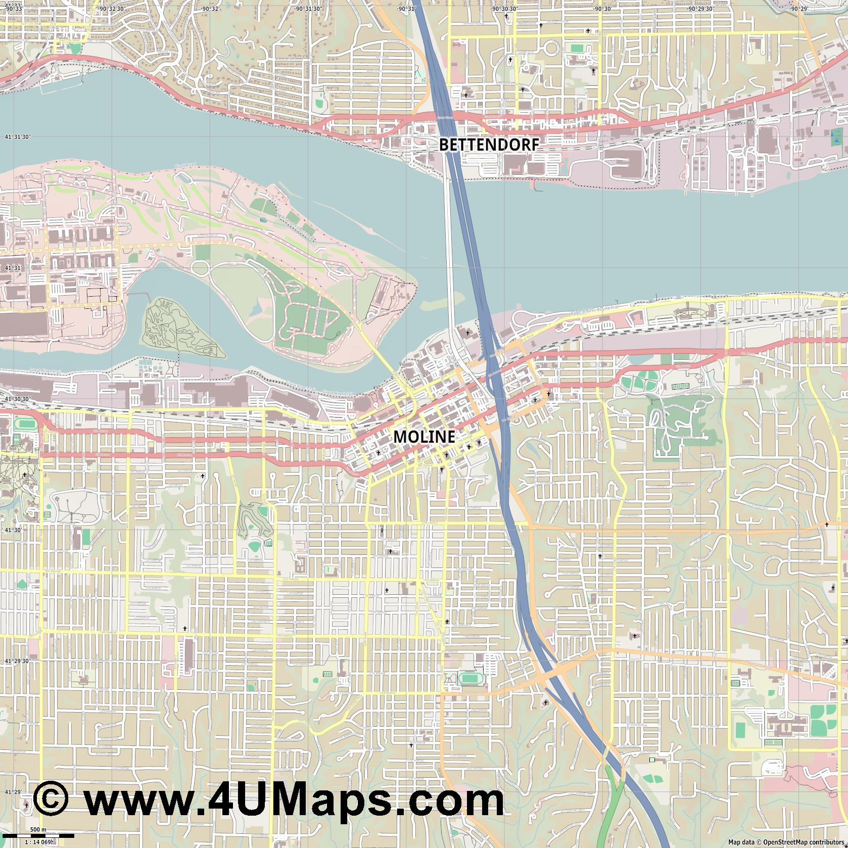 Moline  jpg ultra high detail preview vector city map