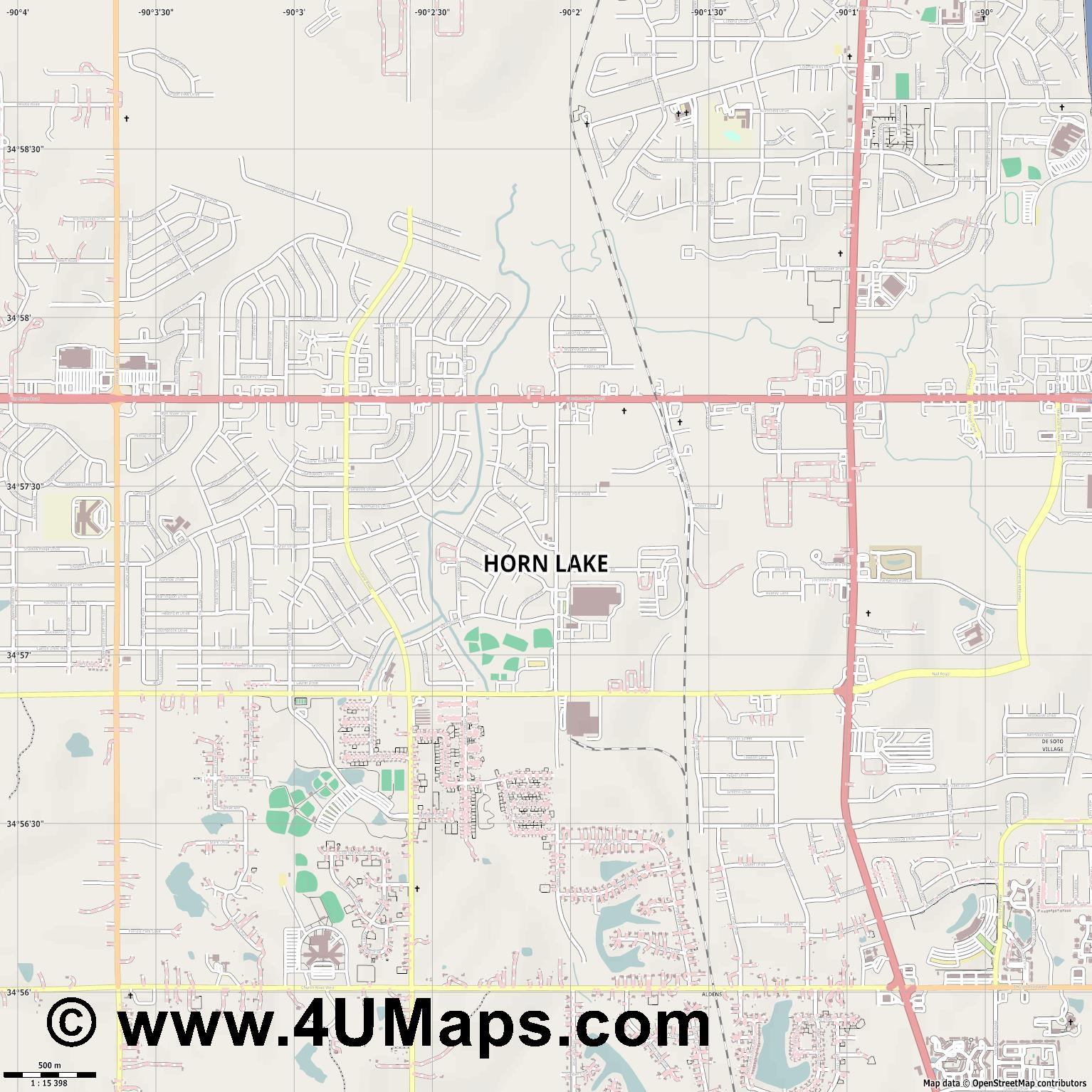 Horn Lake  jpg ultra high detail preview vector city map