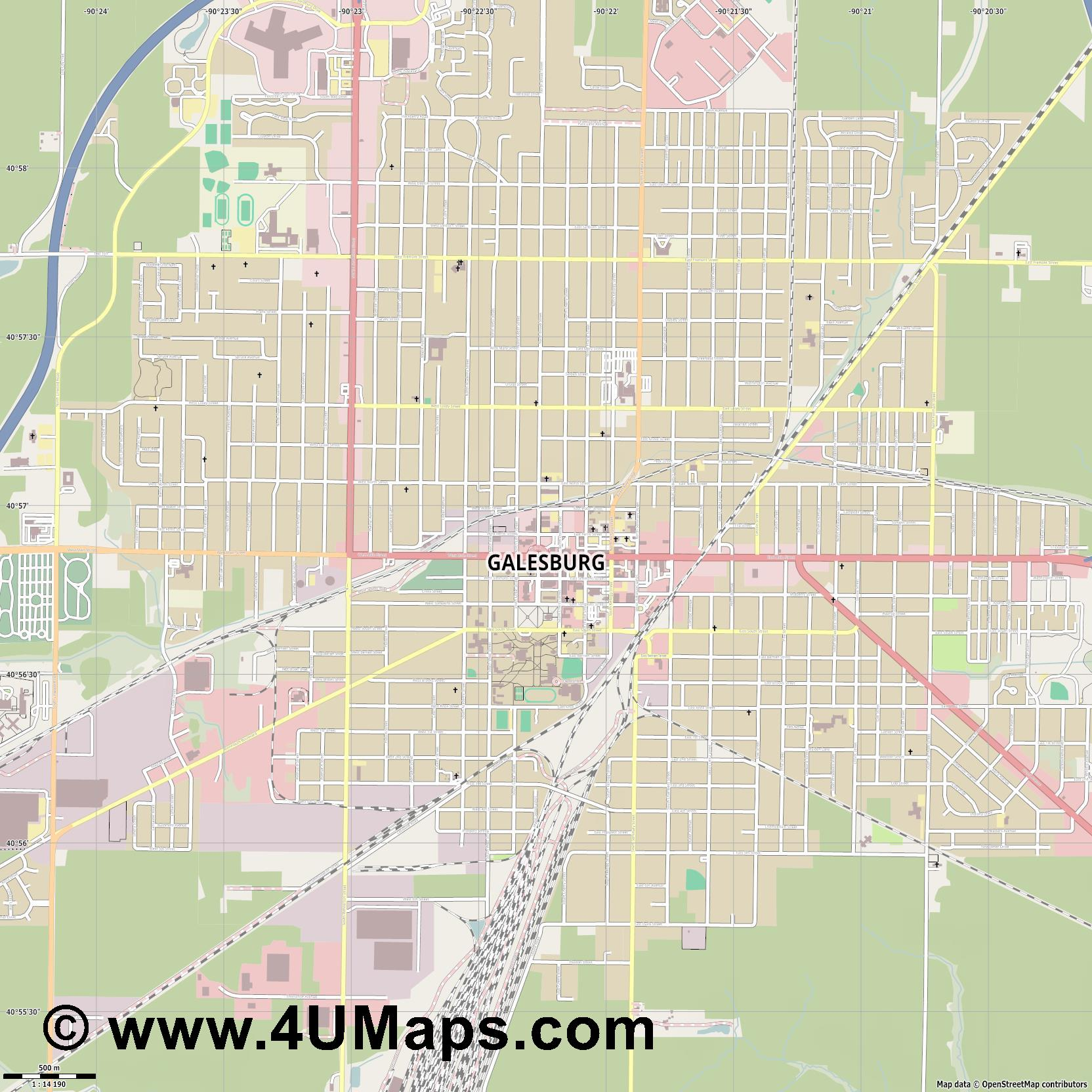 Galesburg  jpg ultra high detail preview vector city map