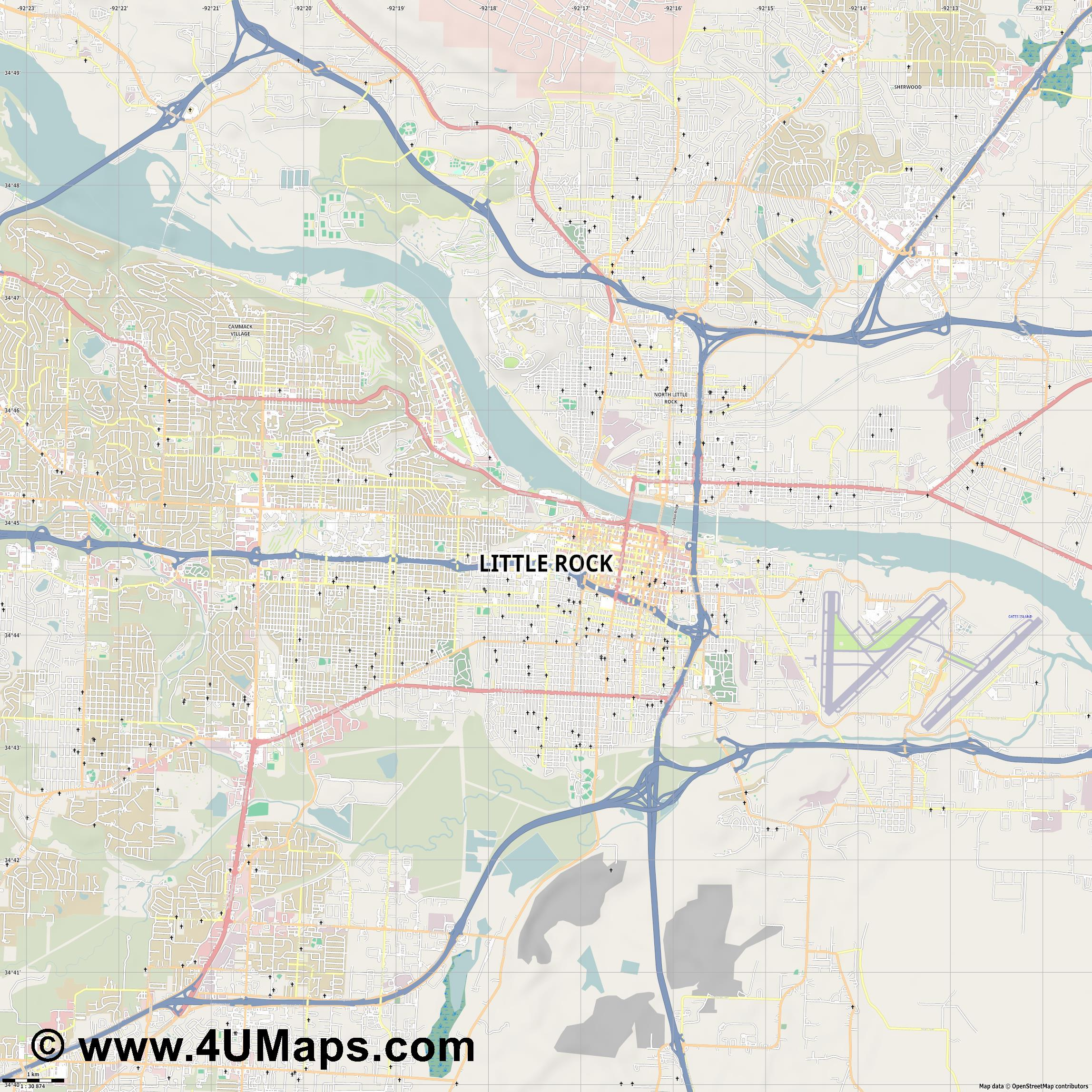 Little Rock  jpg high detail, large area preview vector city map