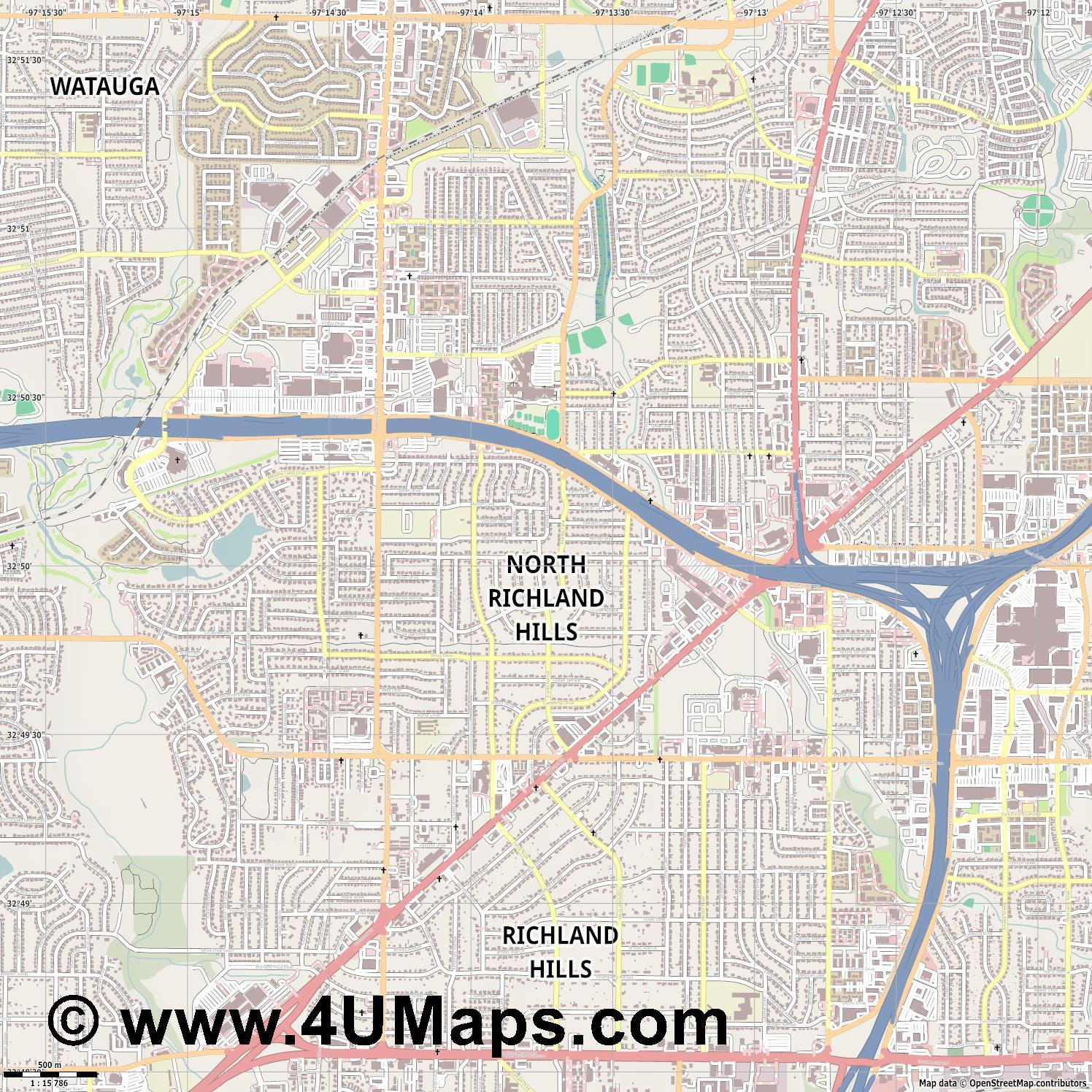 North Richland Hills  jpg ultra high detail preview vector city map