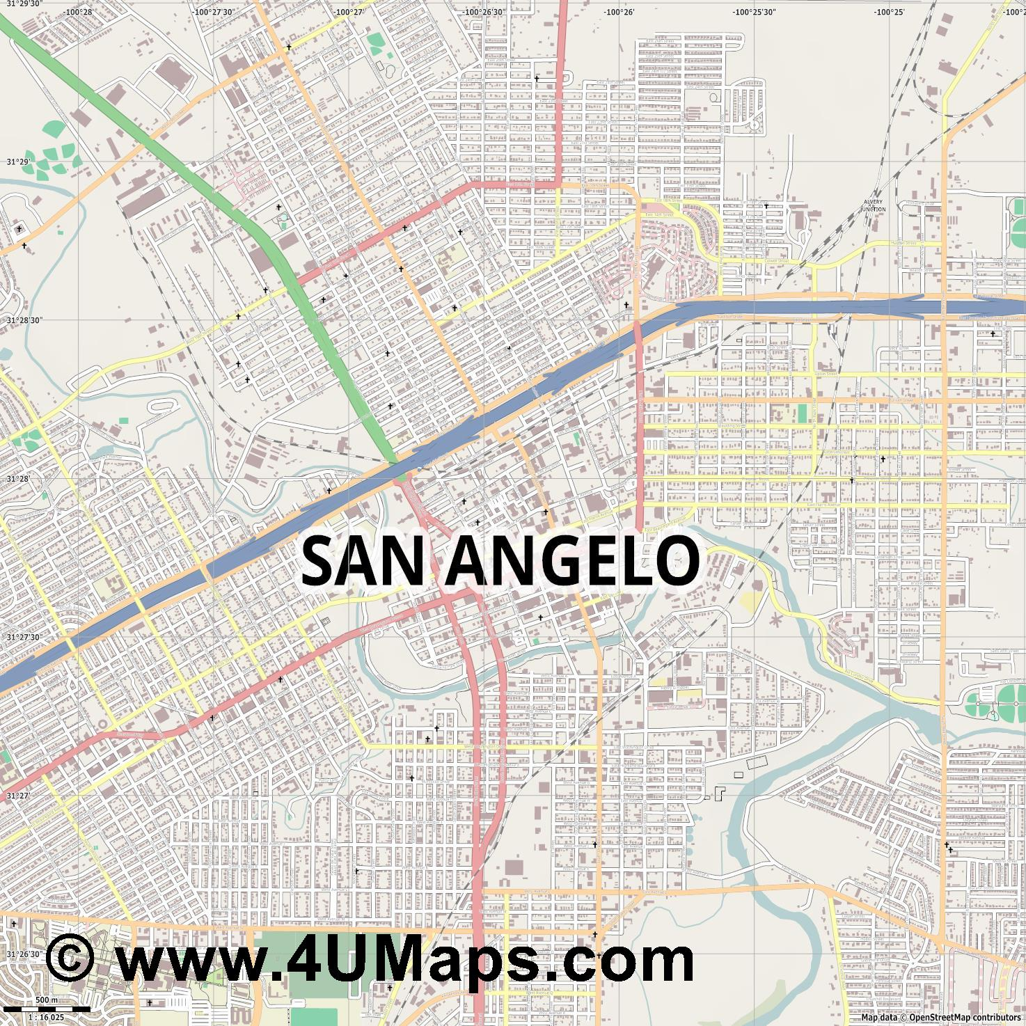 San Angelo  jpg ultra high detail preview vector city map