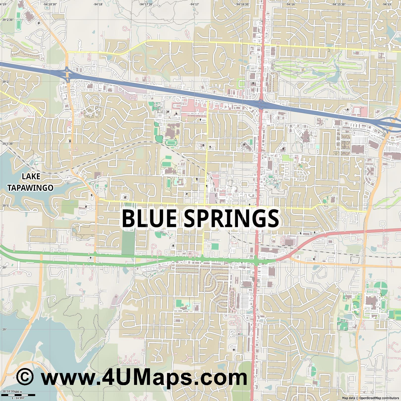 Blue Springs  jpg ultra high detail preview vector city map
