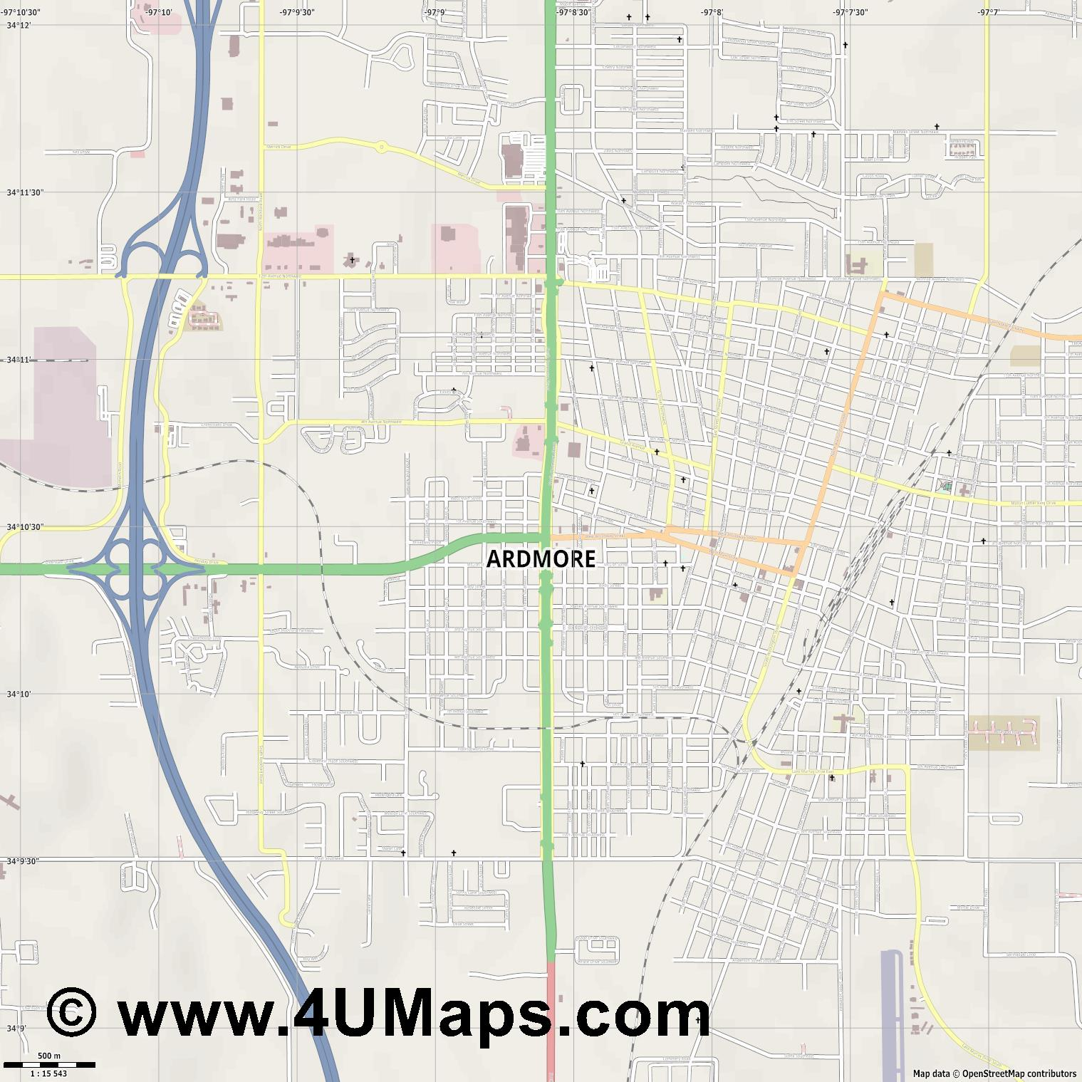 Ardmore  jpg ultra high detail preview vector city map