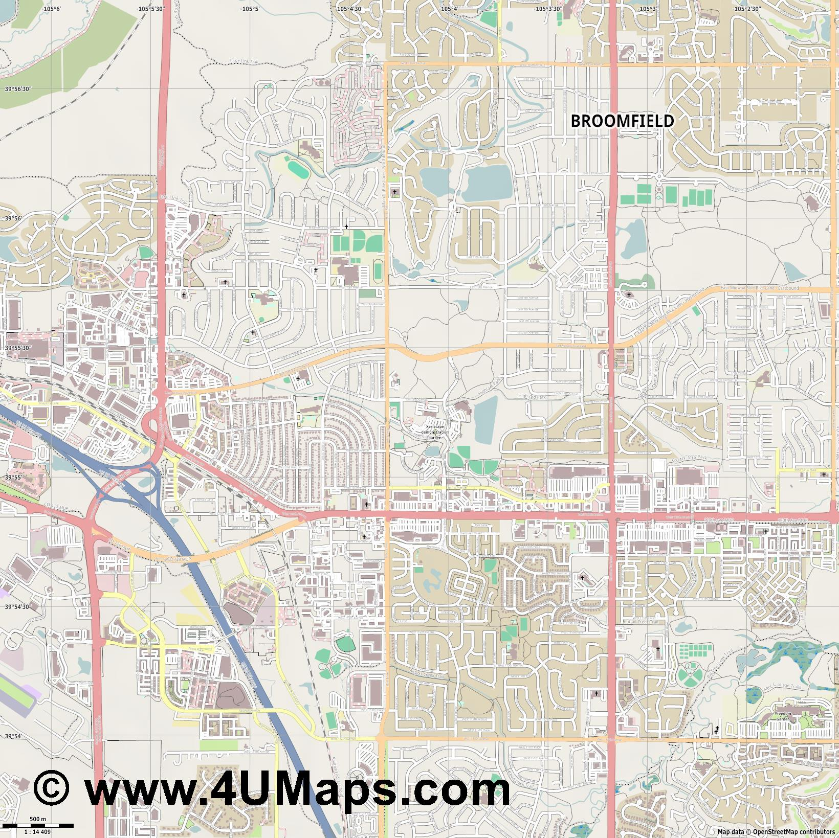 Broomfield  jpg ultra high detail preview vector city map