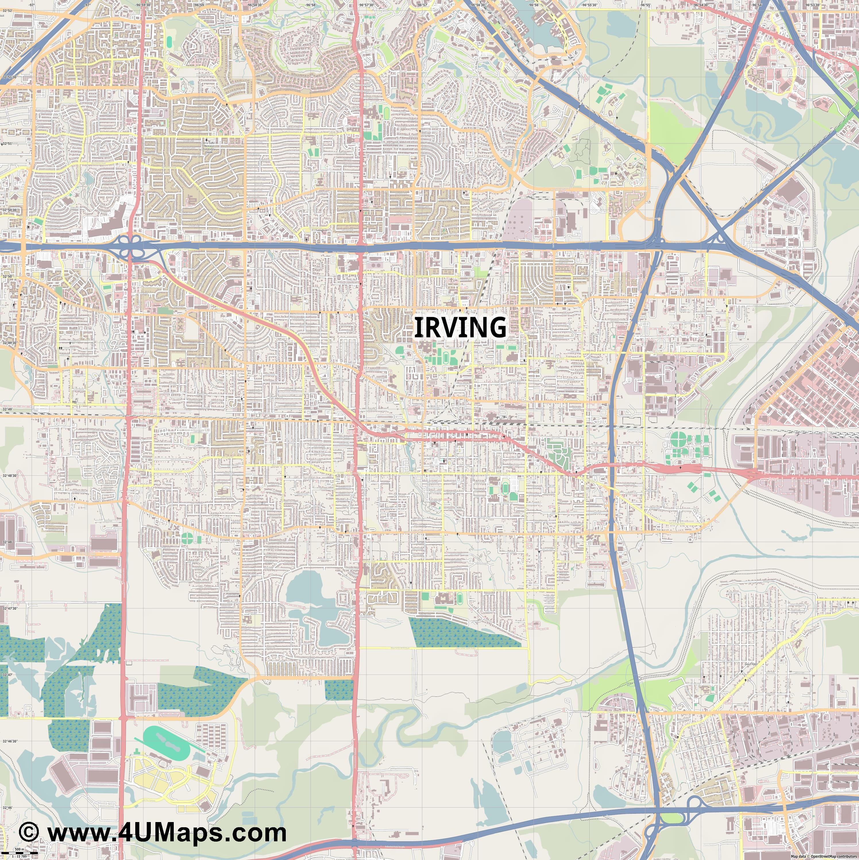 Irving  jpg ultra high detail preview vector city map
