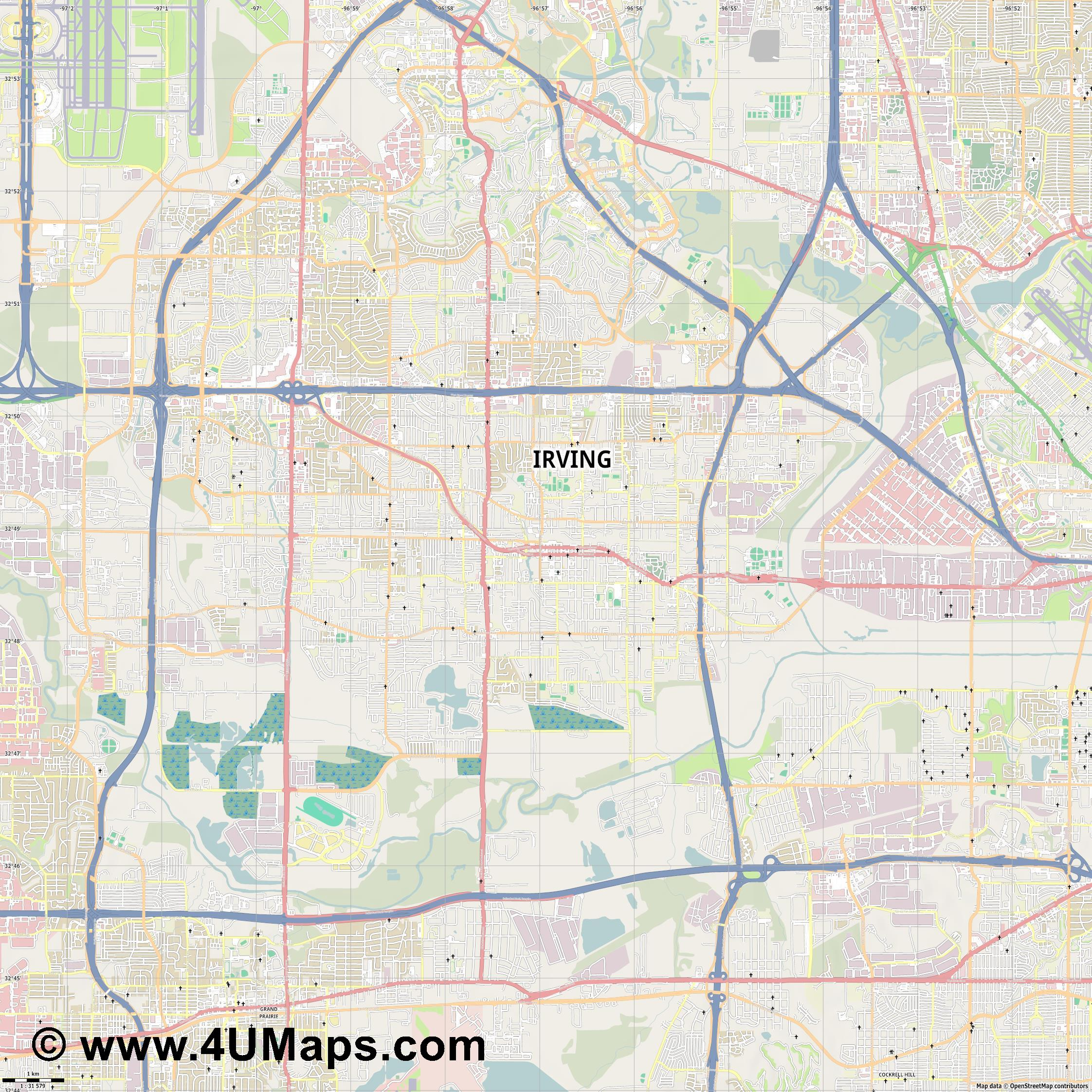 Irving  jpg high detail, large area preview vector city map