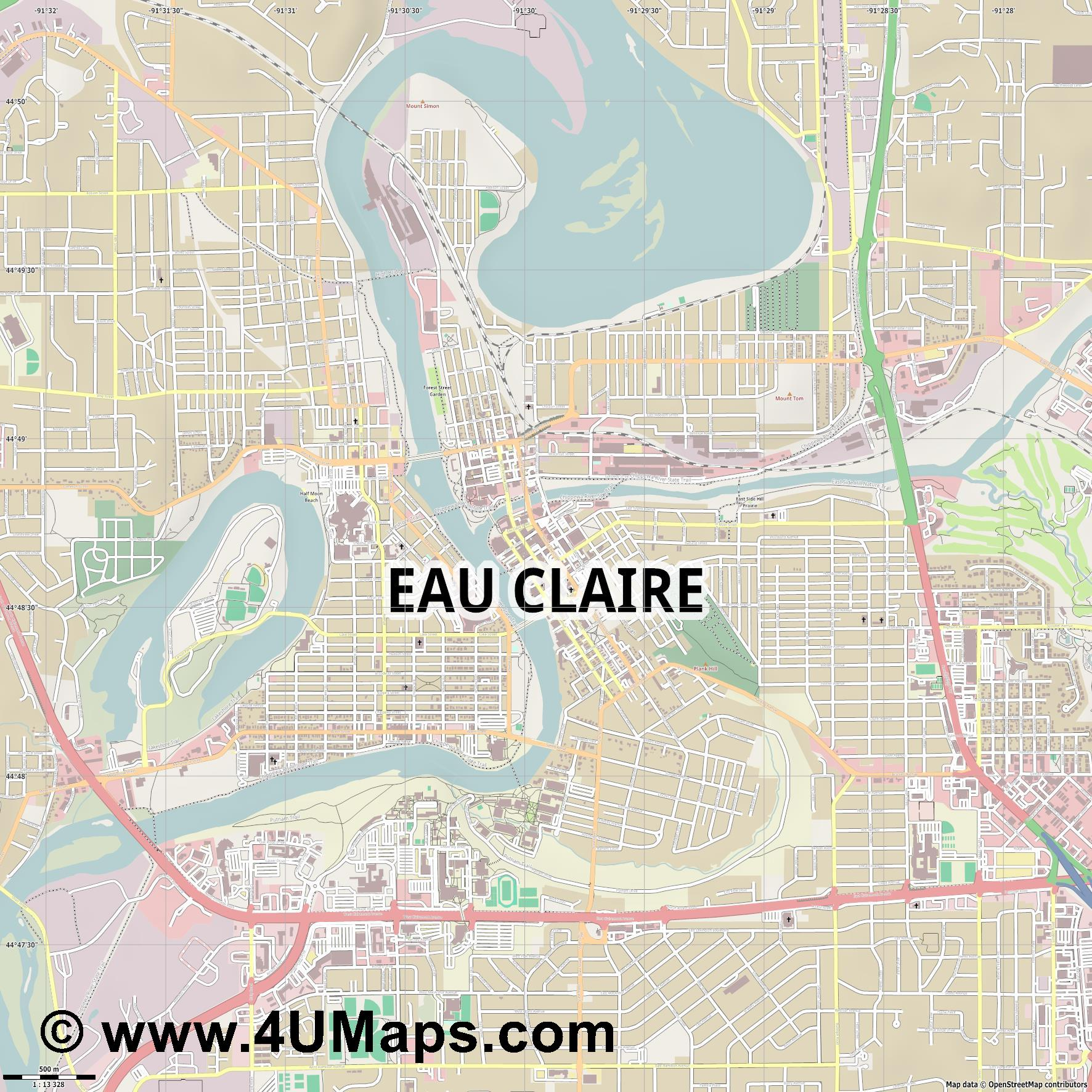 Eau Claire  jpg ultra high detail preview vector city map