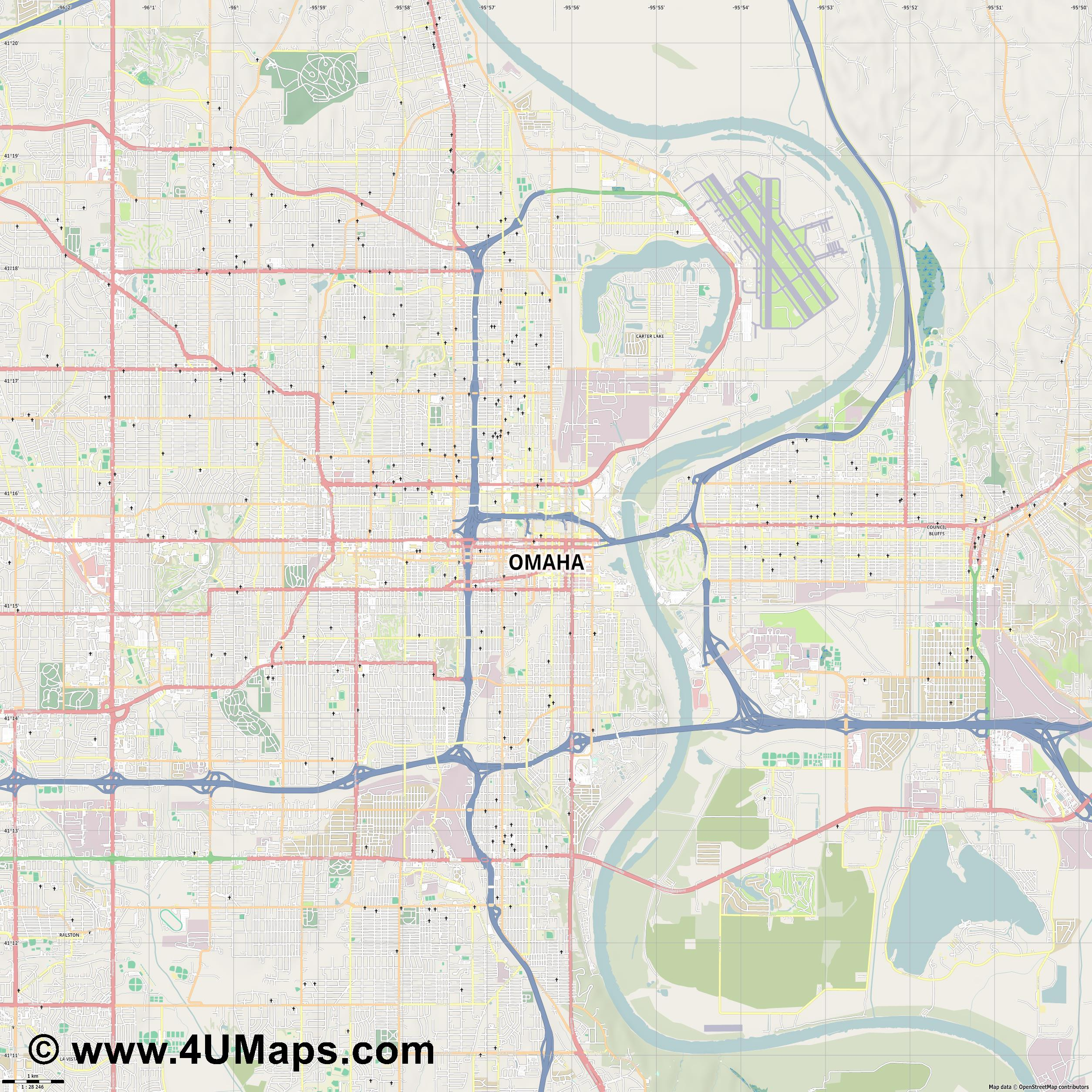 Omaha  jpg high detail, large area preview vector city map