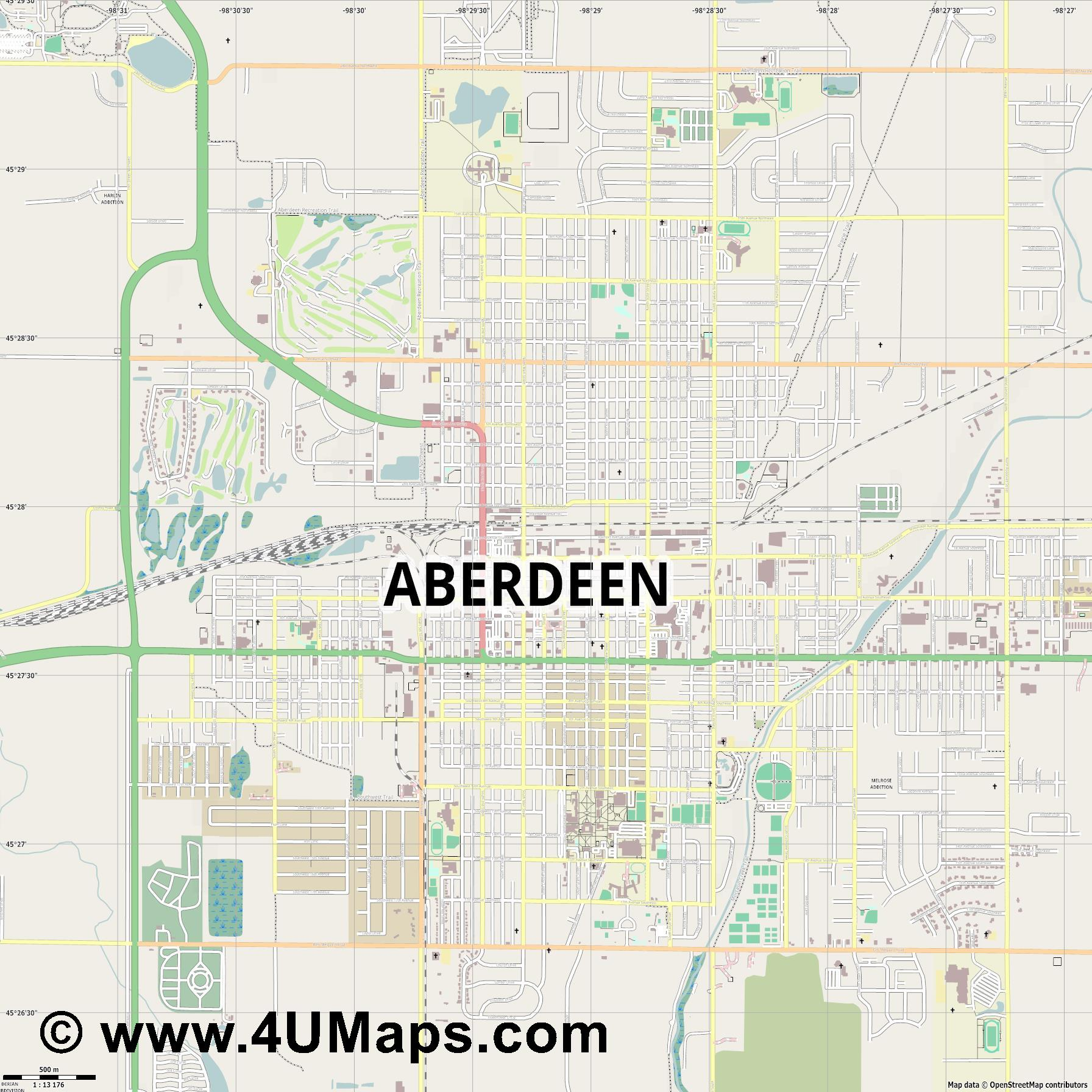 Aberdeen  jpg ultra high detail preview vector city map
