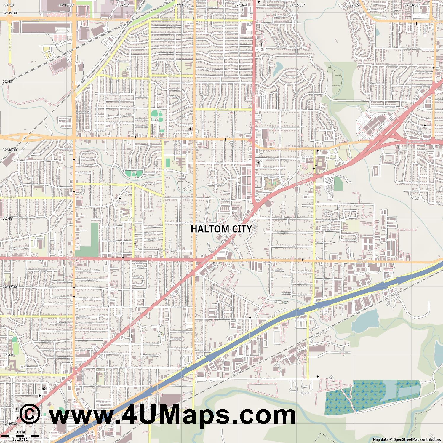 Haltom City  jpg ultra high detail preview vector city map