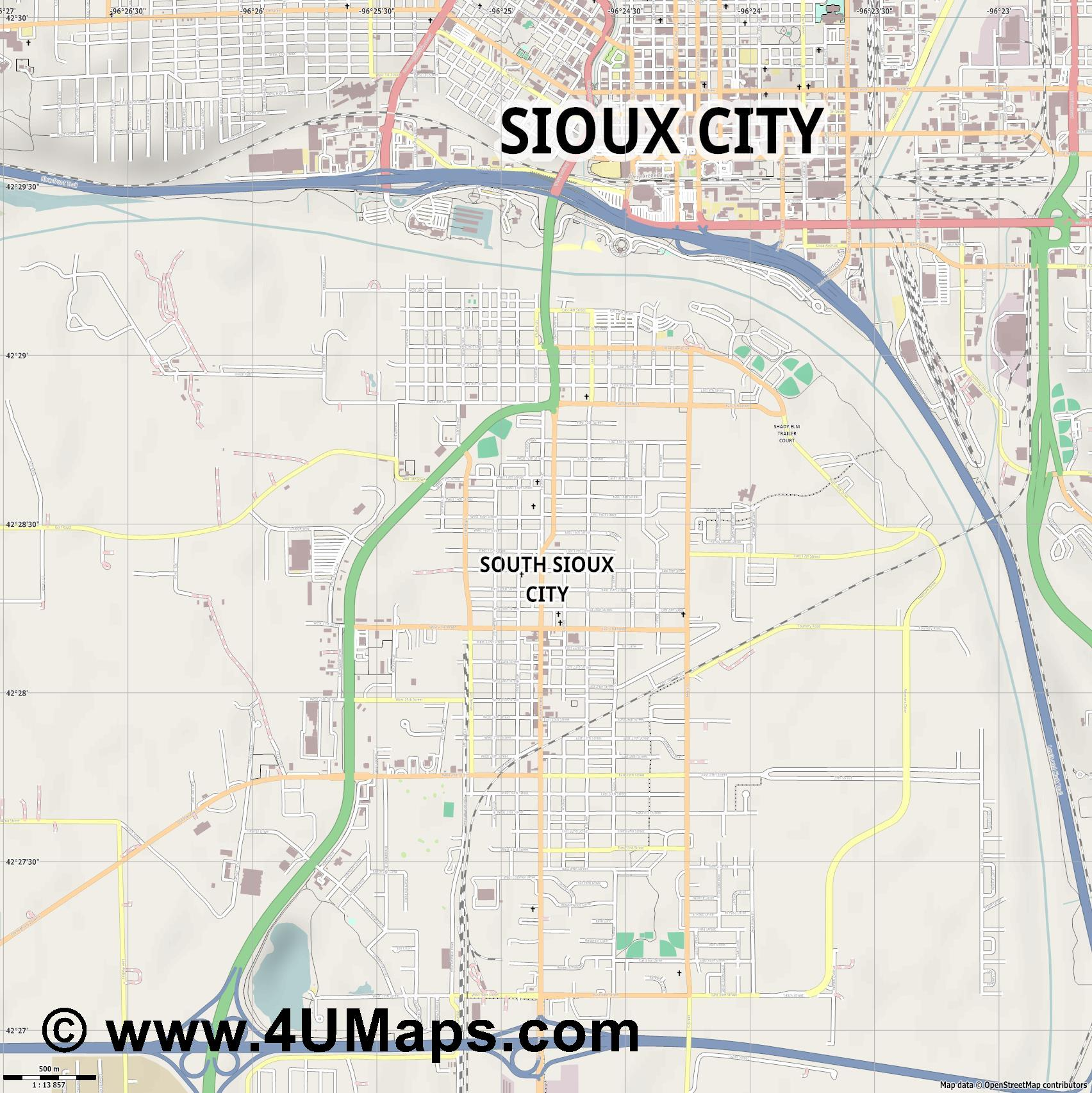 South Sioux City  jpg ultra high detail preview vector city map